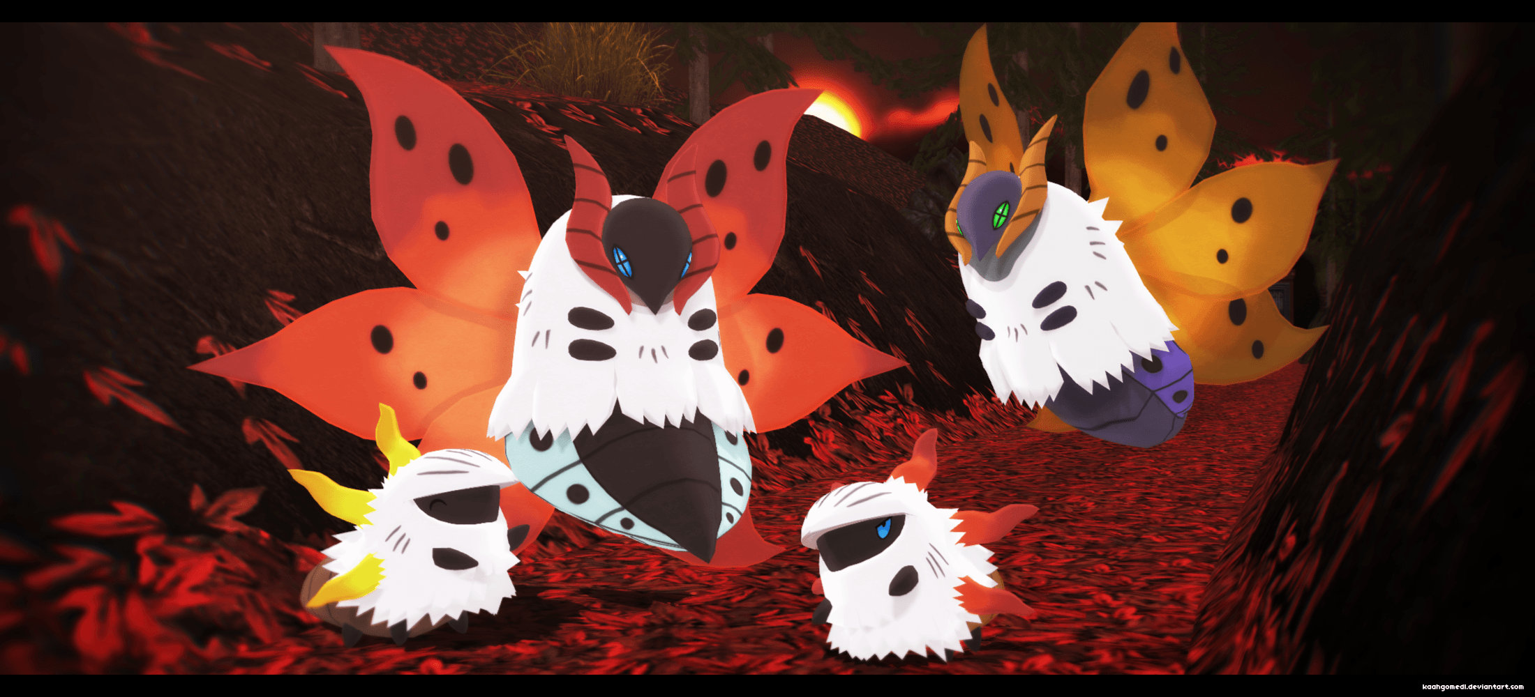 MMD Pokemon: Volcarona and Larvesta by kaahgomedl on DeviantArt