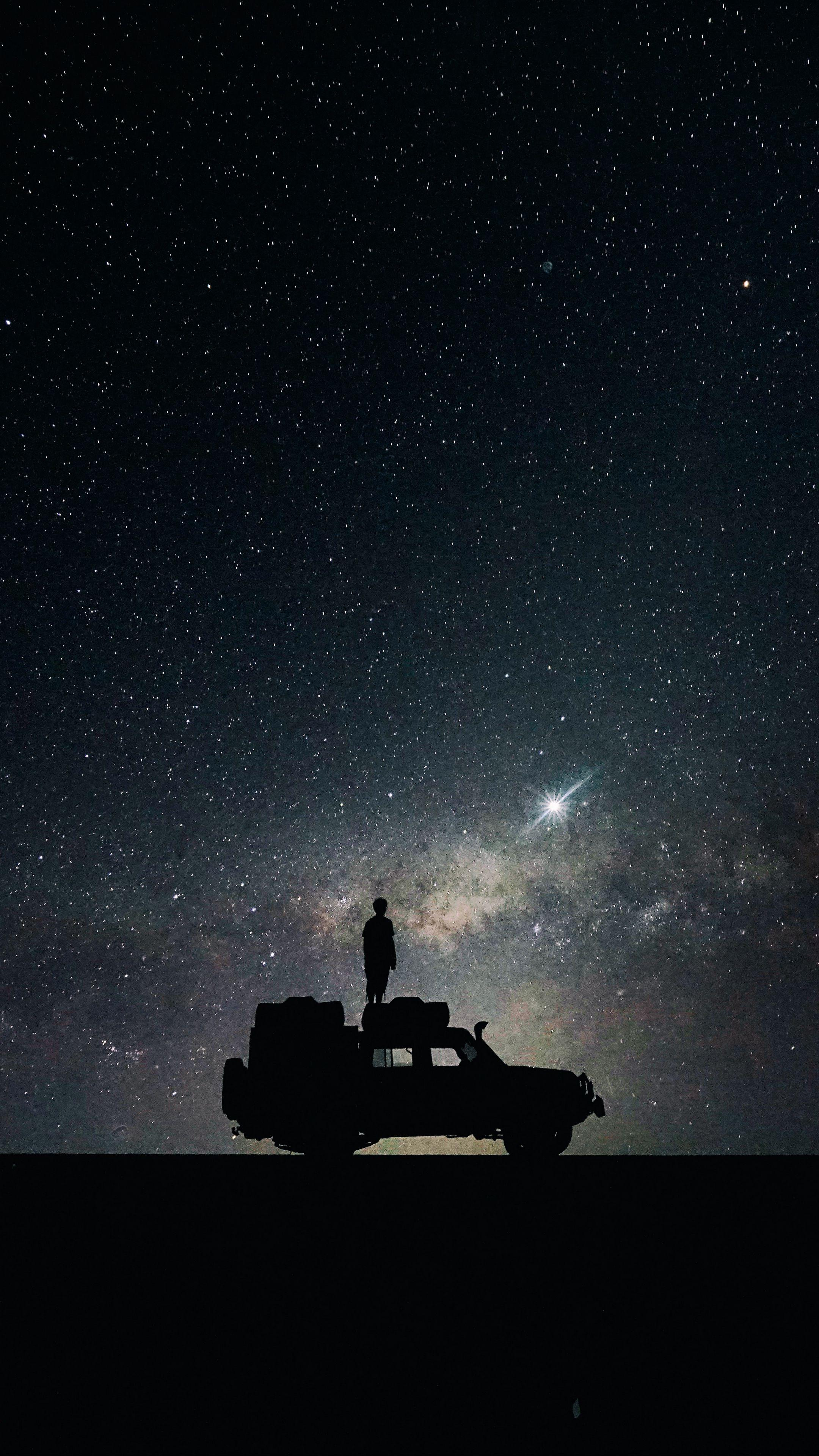 Download wallpapers 2160x3840 stars, sky, space, car samsung galaxy