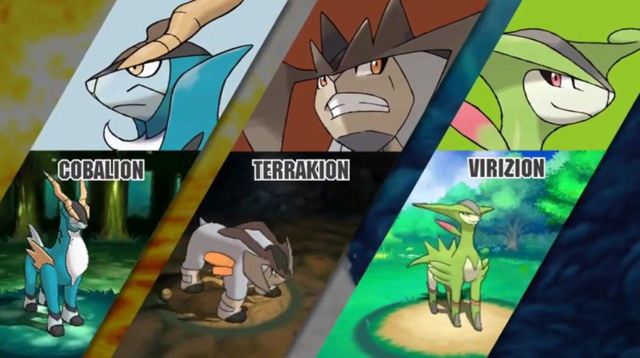 Cobalion, Terrakion, and Virizion will catchable in Pokemon Omega