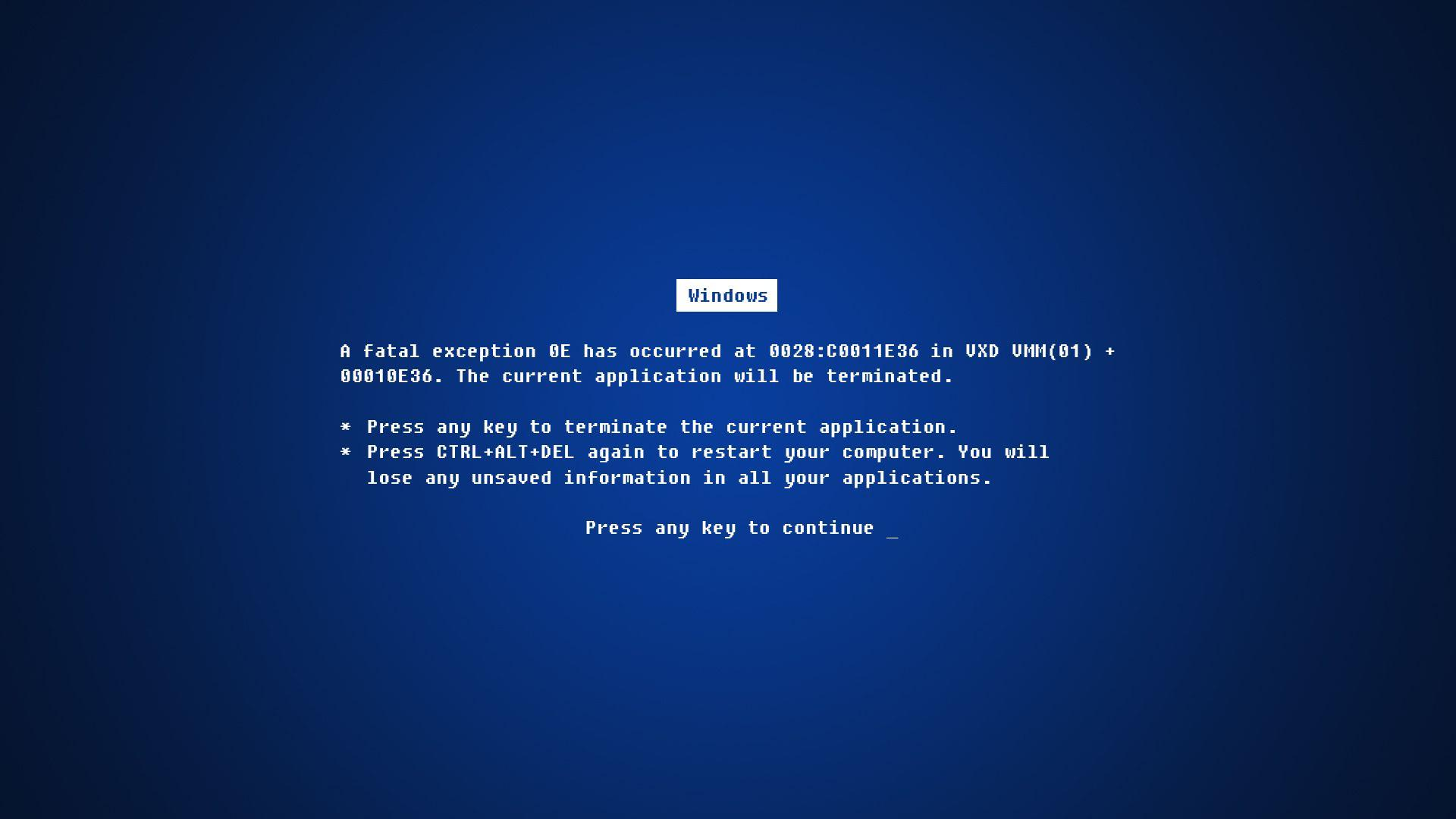 Daily Wallpaper: Blue Screen of Death