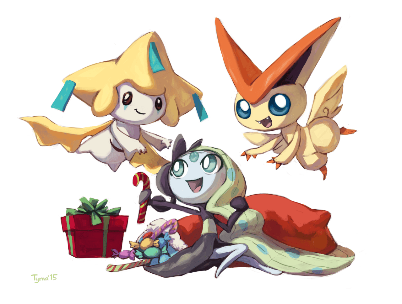 Jirachi, Meloetta, and Victini | 4 | Pinterest | Pokémon and Anime