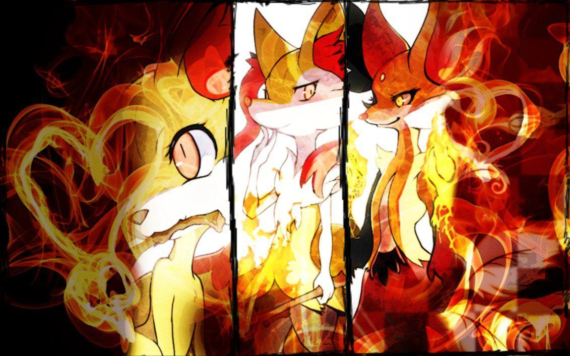 Fennekin, Braixen, Delphox Wallpapers Pokemon XY by Rainbowicescream