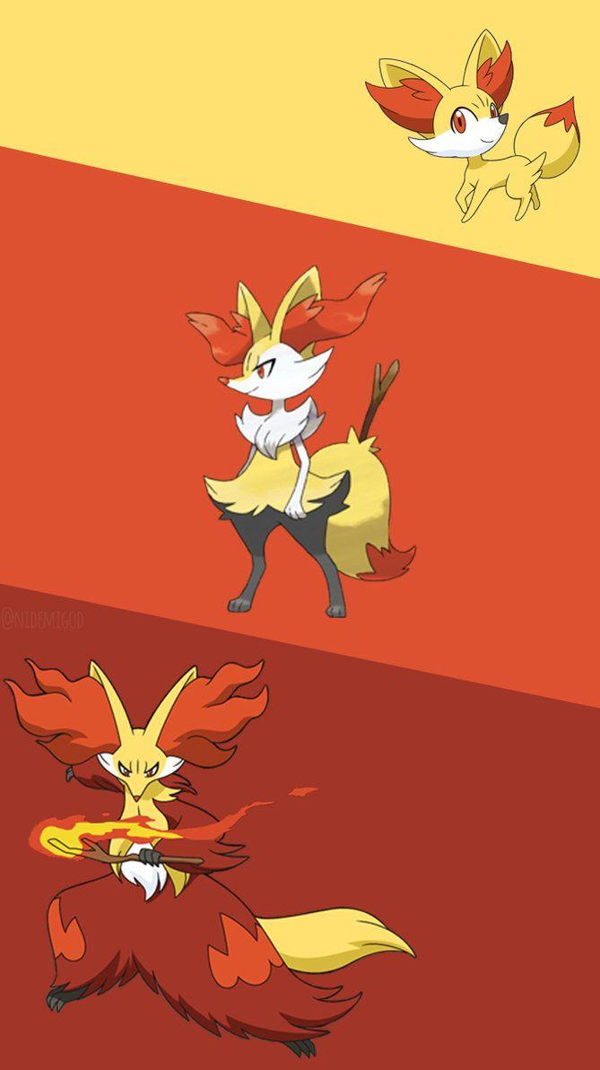 Wallpaper Fennekin,Braixen e Delphox by Nidemigod on DeviantArt
