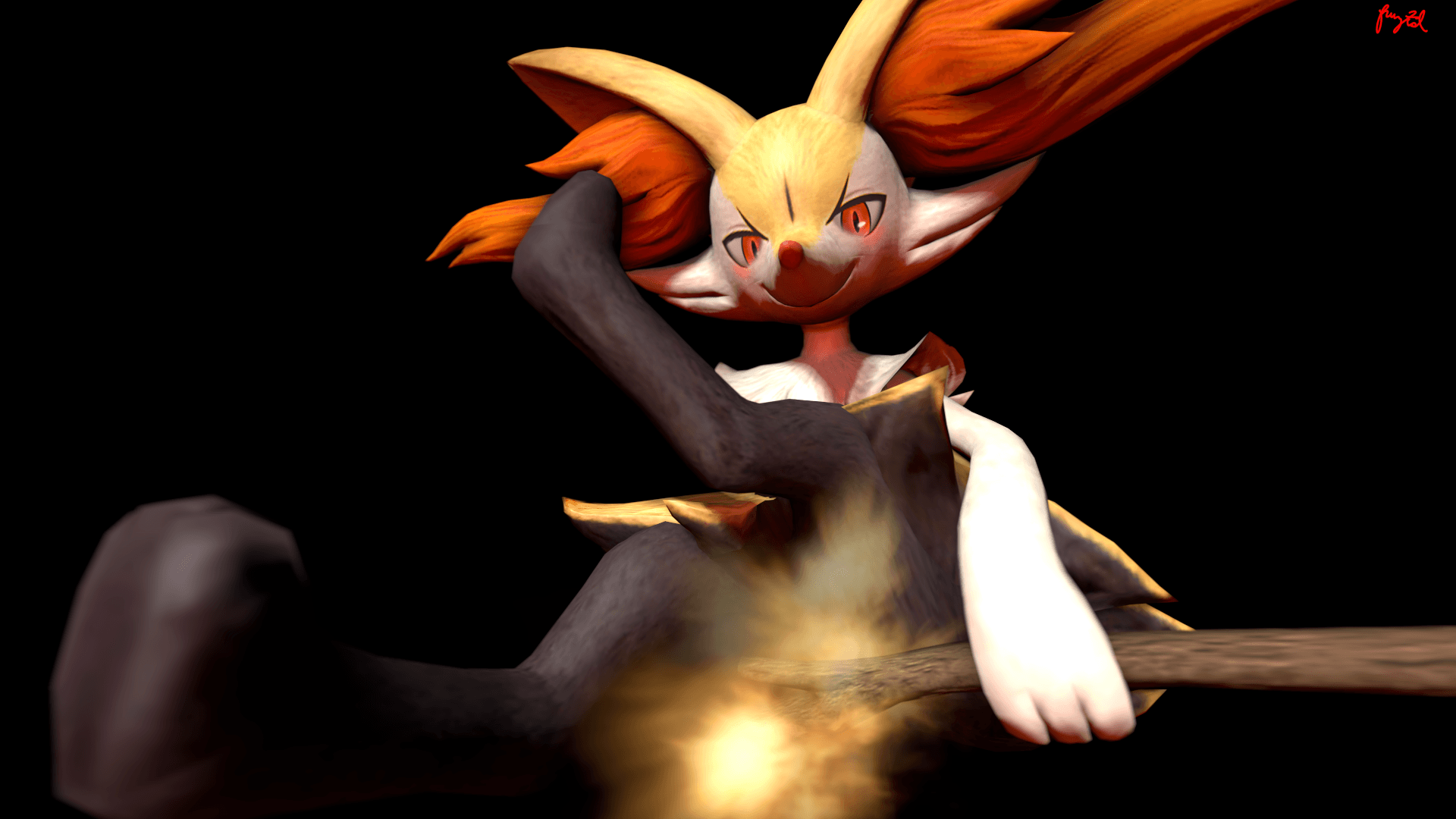 Braixen's *Flamethrower* by fruztal on DeviantArt