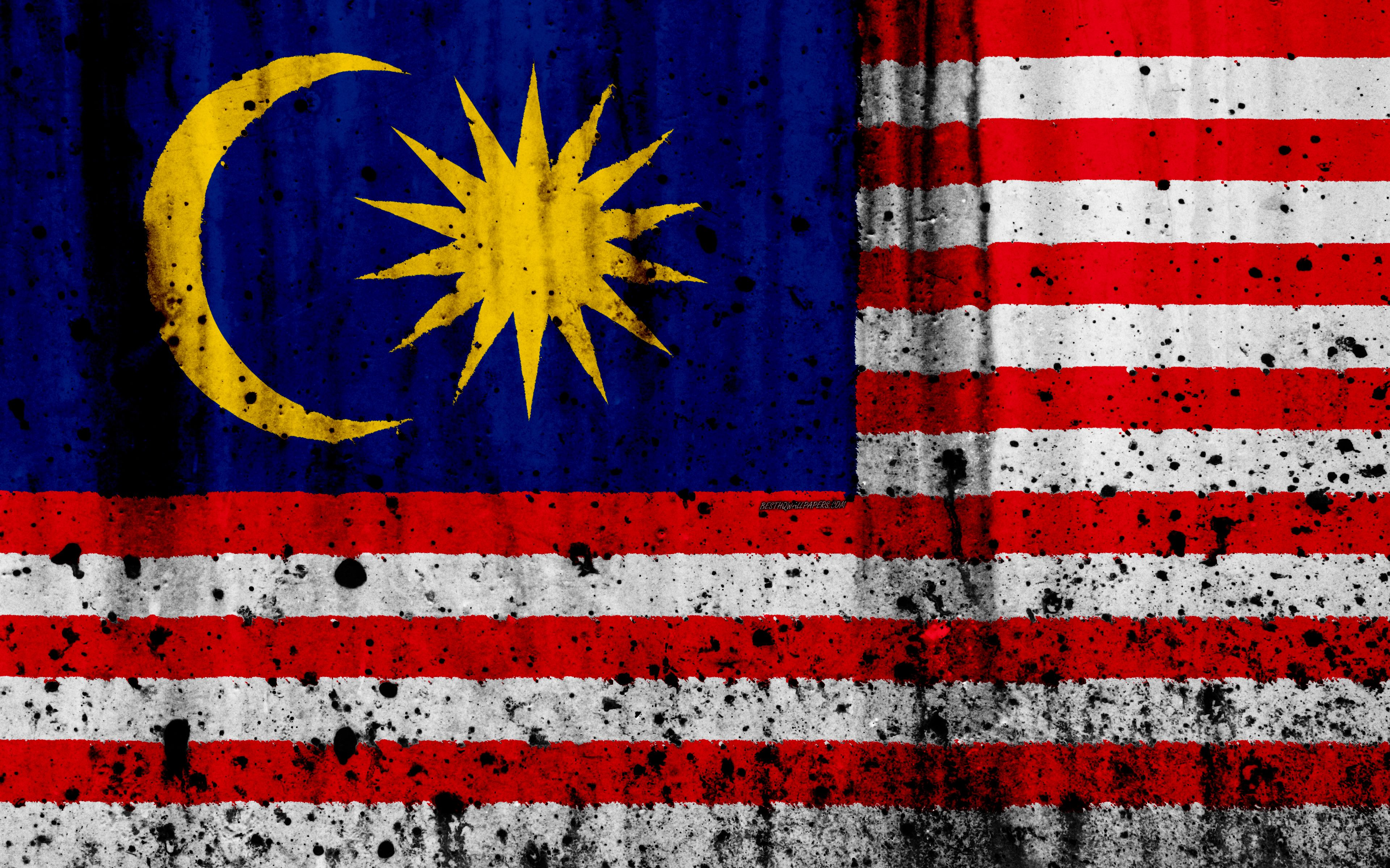 Download wallpapers Malaysian flag, 4k, grunge, flag of Malaysia ...