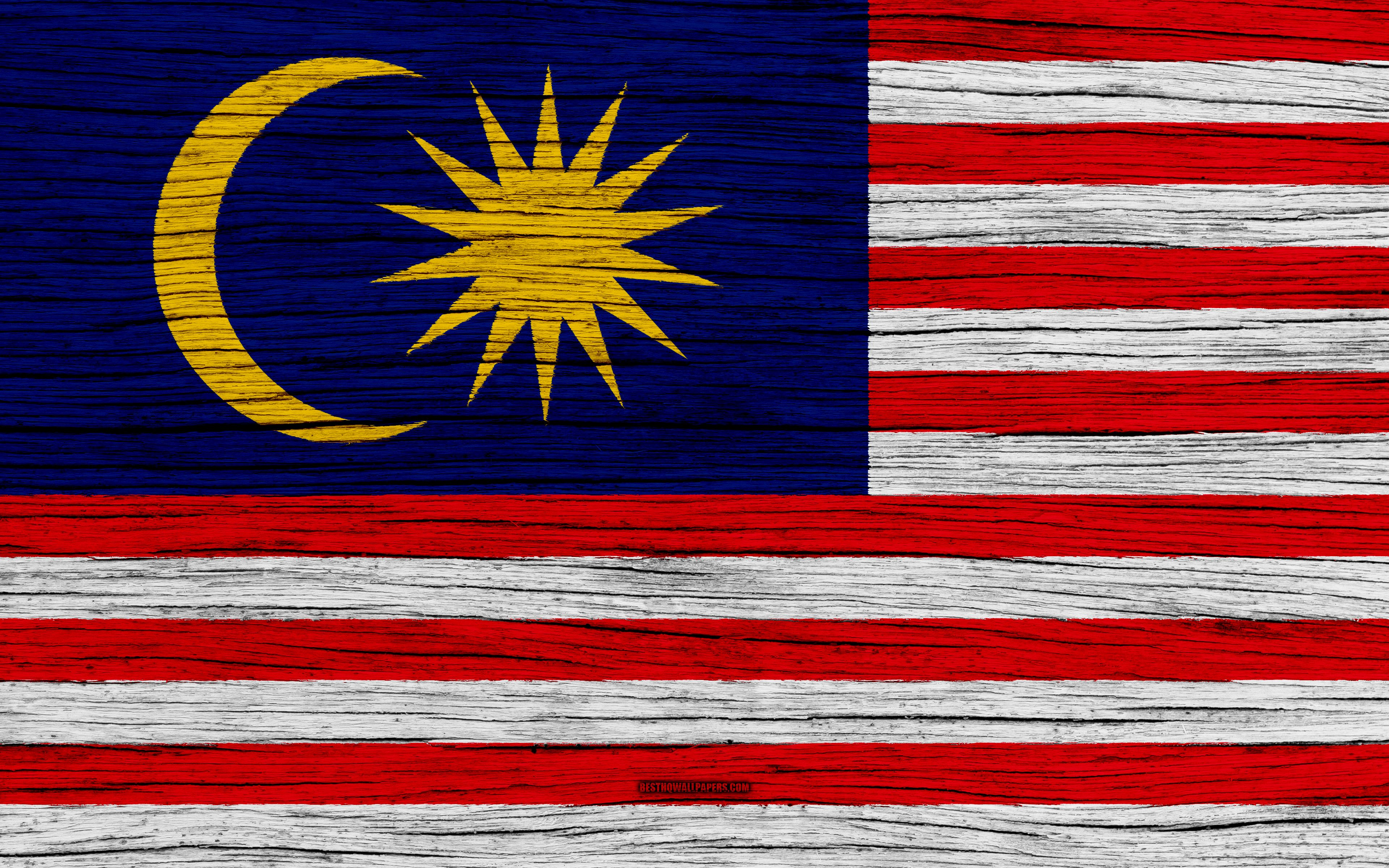 Download wallpapers Flag of Malaysia, 4k, Asia, wooden texture ...