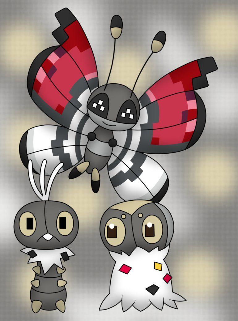 Scatterbug, Spewpa and Vivillon by Hebi95 on DeviantArt