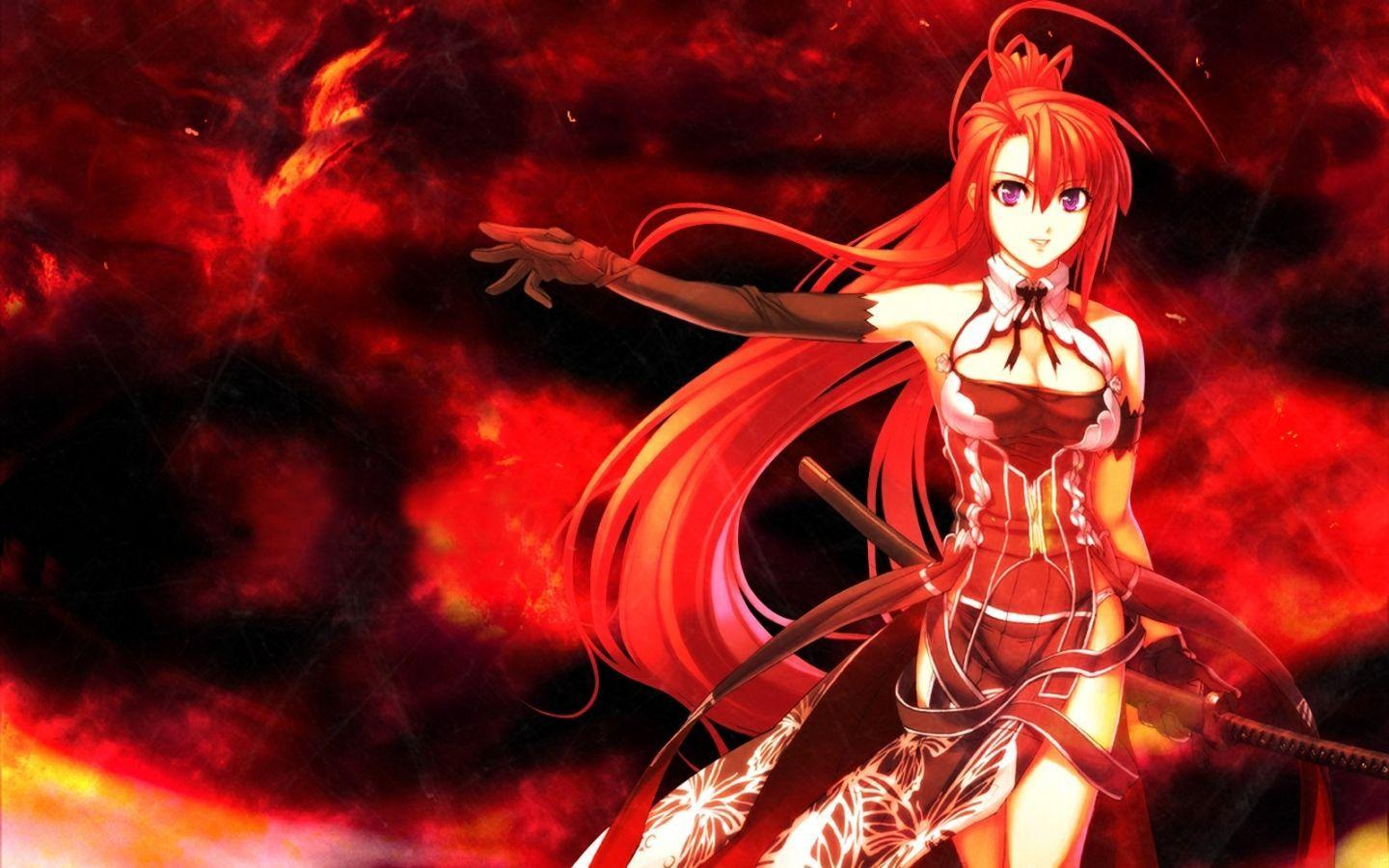 Download wallpaper x anime girl red hair sword red haired