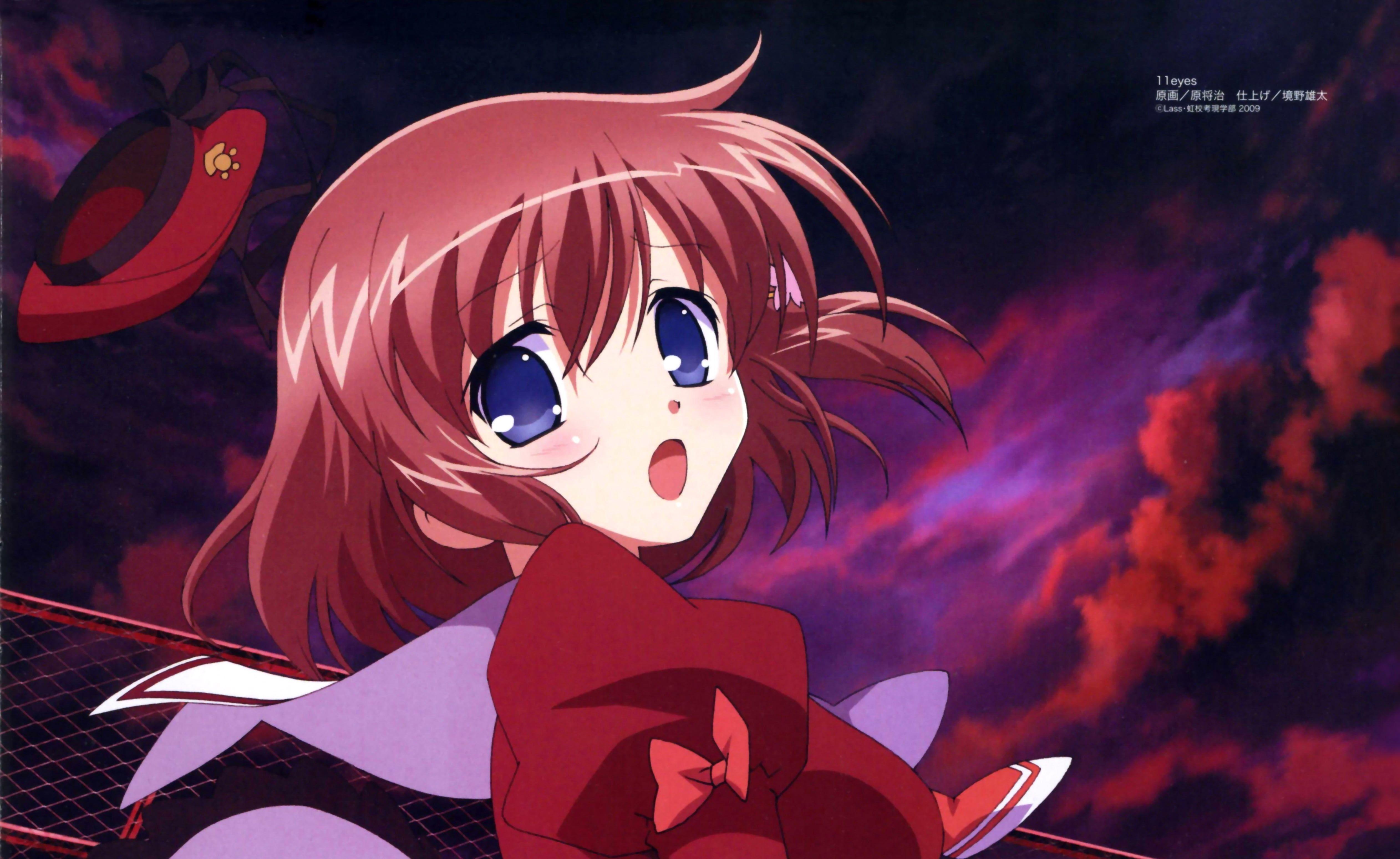 anime Red girl hair