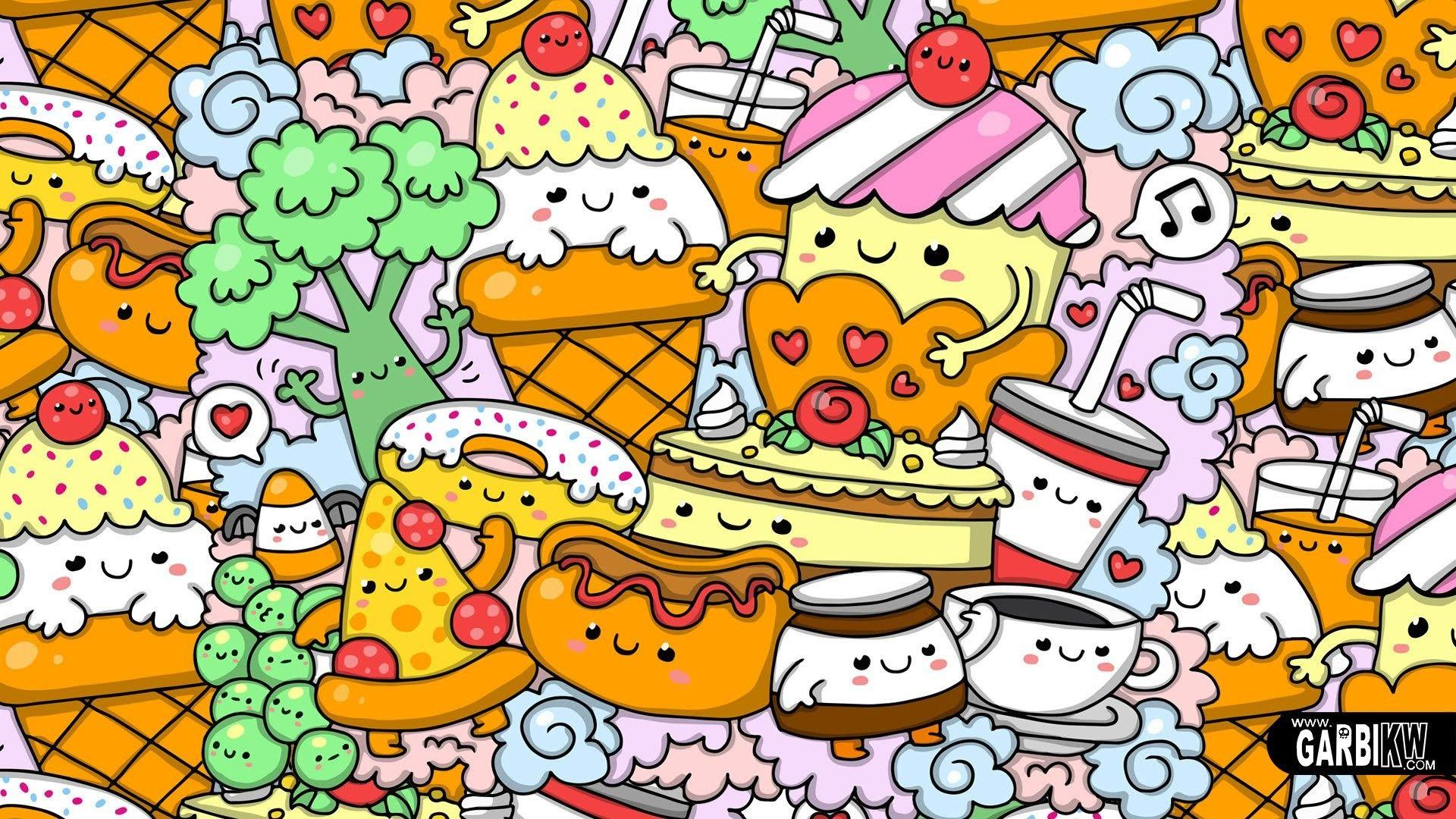 Cartoon food wallpapers wallpaper cave - Kawaii food wallpaper ...