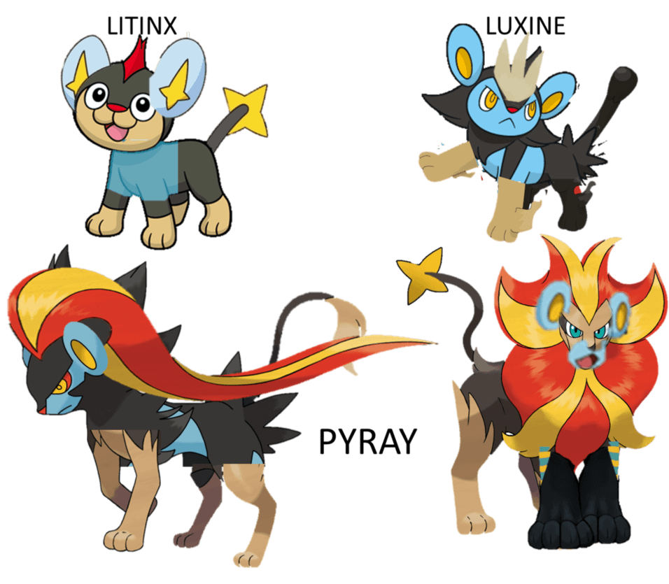 Pyroar/Luxray family by mywaterpokemon on DeviantArt