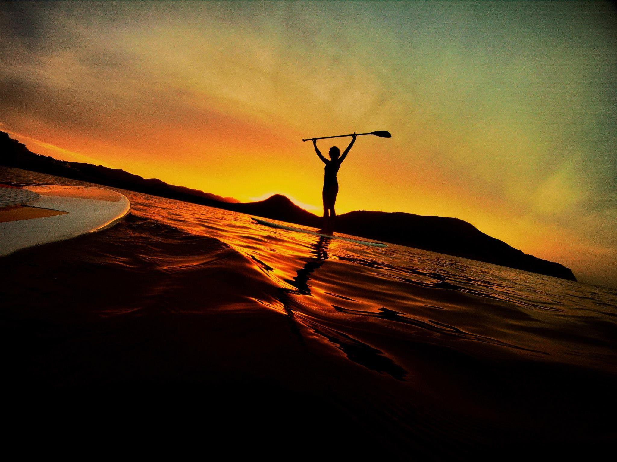 Sunset Ocean Waves Paddleboarding Board Stand Up, Wallpapers Stand