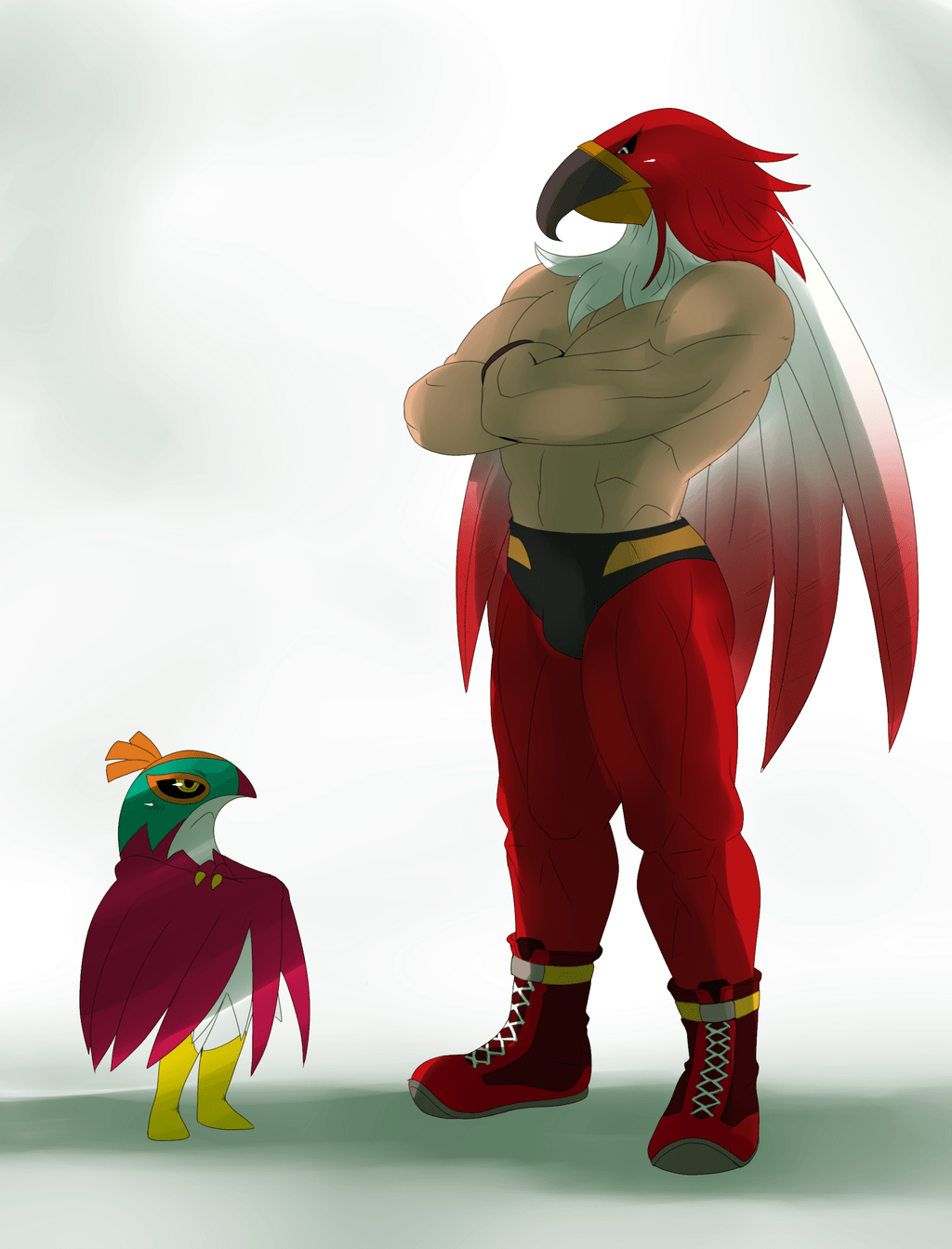 Hawlucha from Pokemon and Tizoc from King of Fighters.