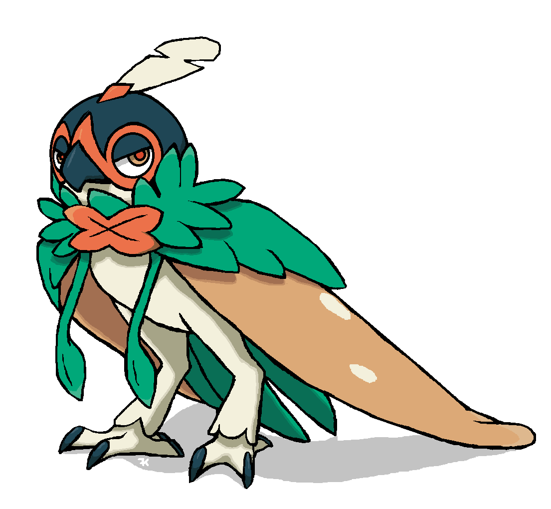 I pondered what Decidueye looked like with its hood down, and