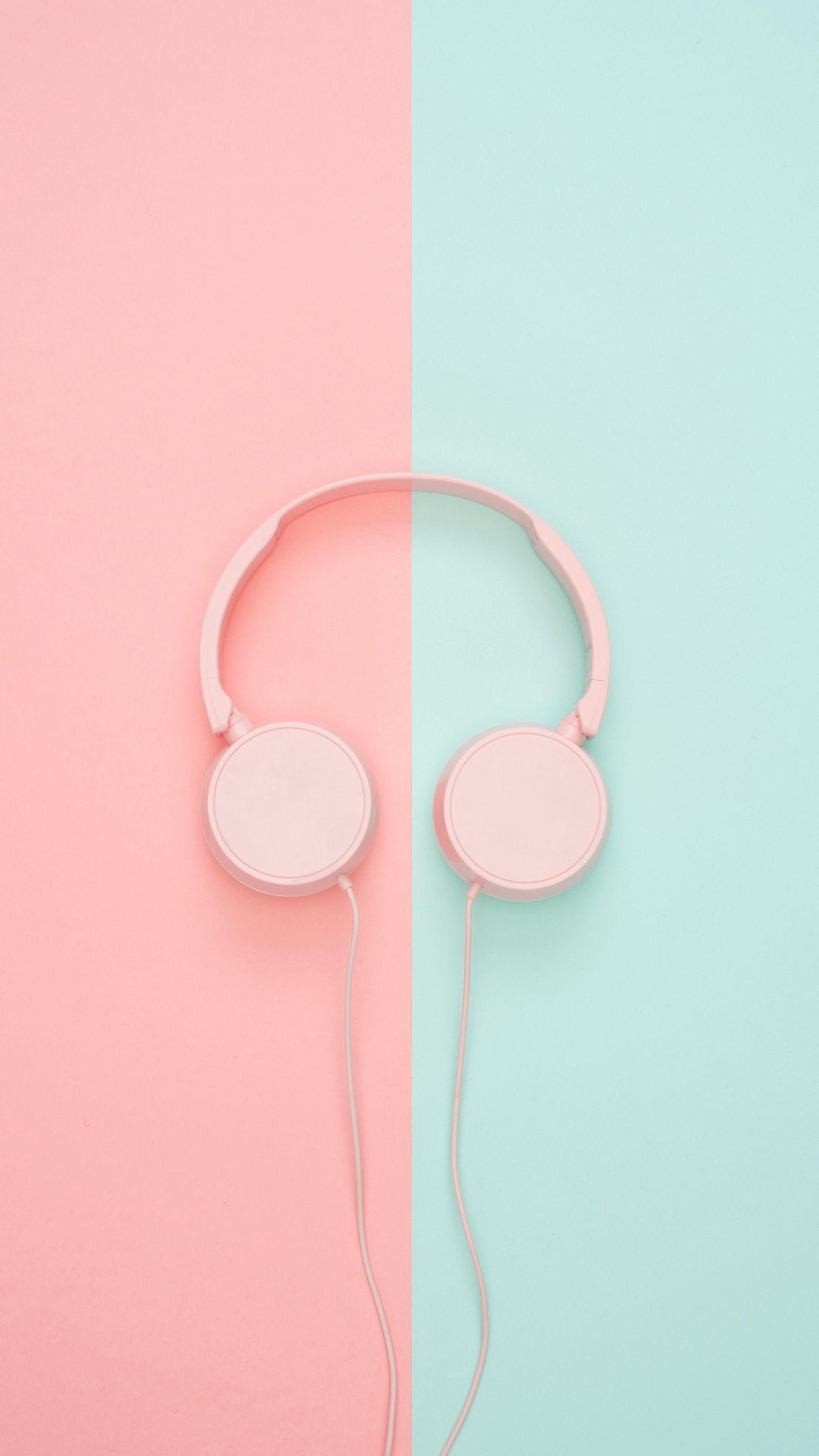 Download wallpapers 1350x2400 headphones, minimalism, pink, pastel