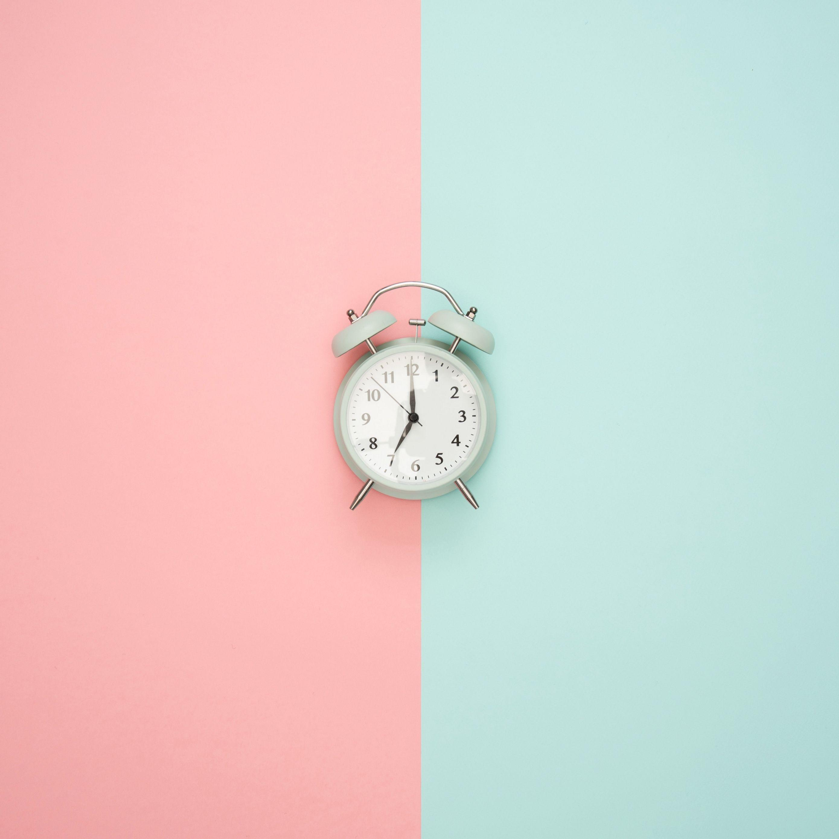 Download wallpapers 2780x2780 alarm clock, minimalism, pink, pastel