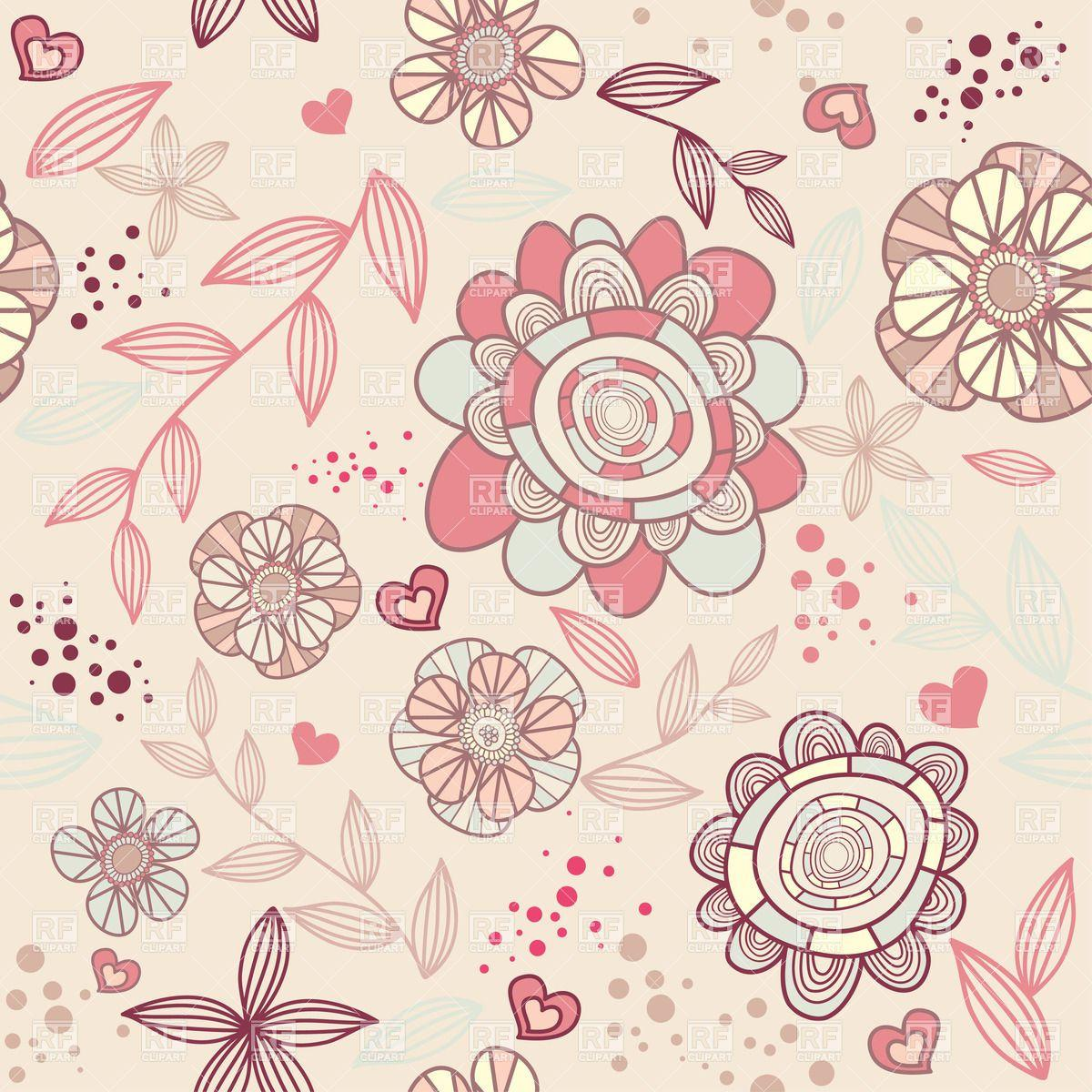 Seamless romantic pastel wallpapers with stylized flowers Vector