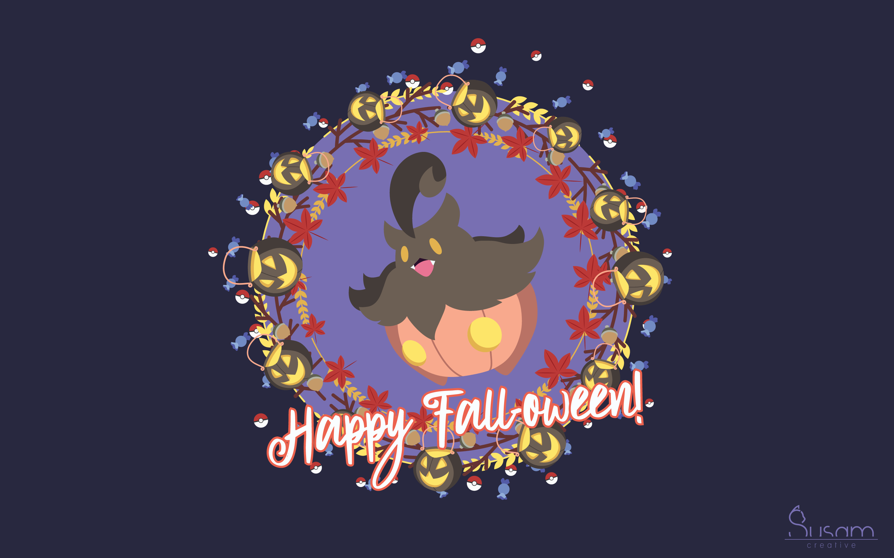 October 2017 Wallpaper - A Pokemon Halloween - Susam Creative