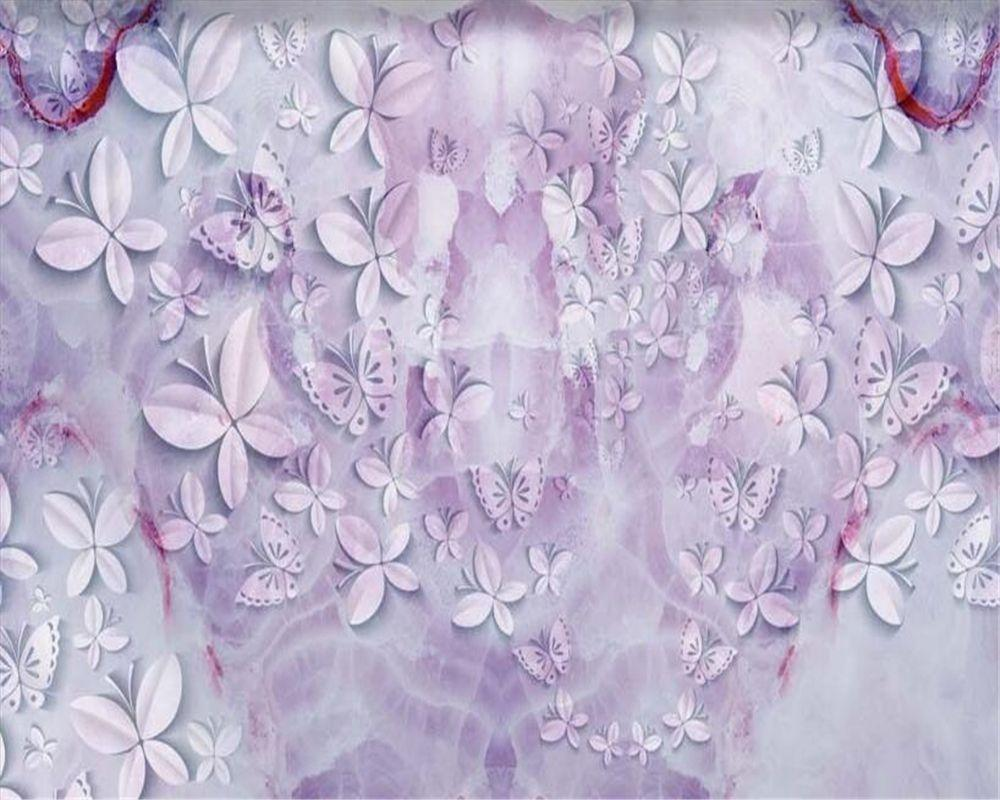 Beibehang 3D wallpapers beautiful butterfly purple marble texture