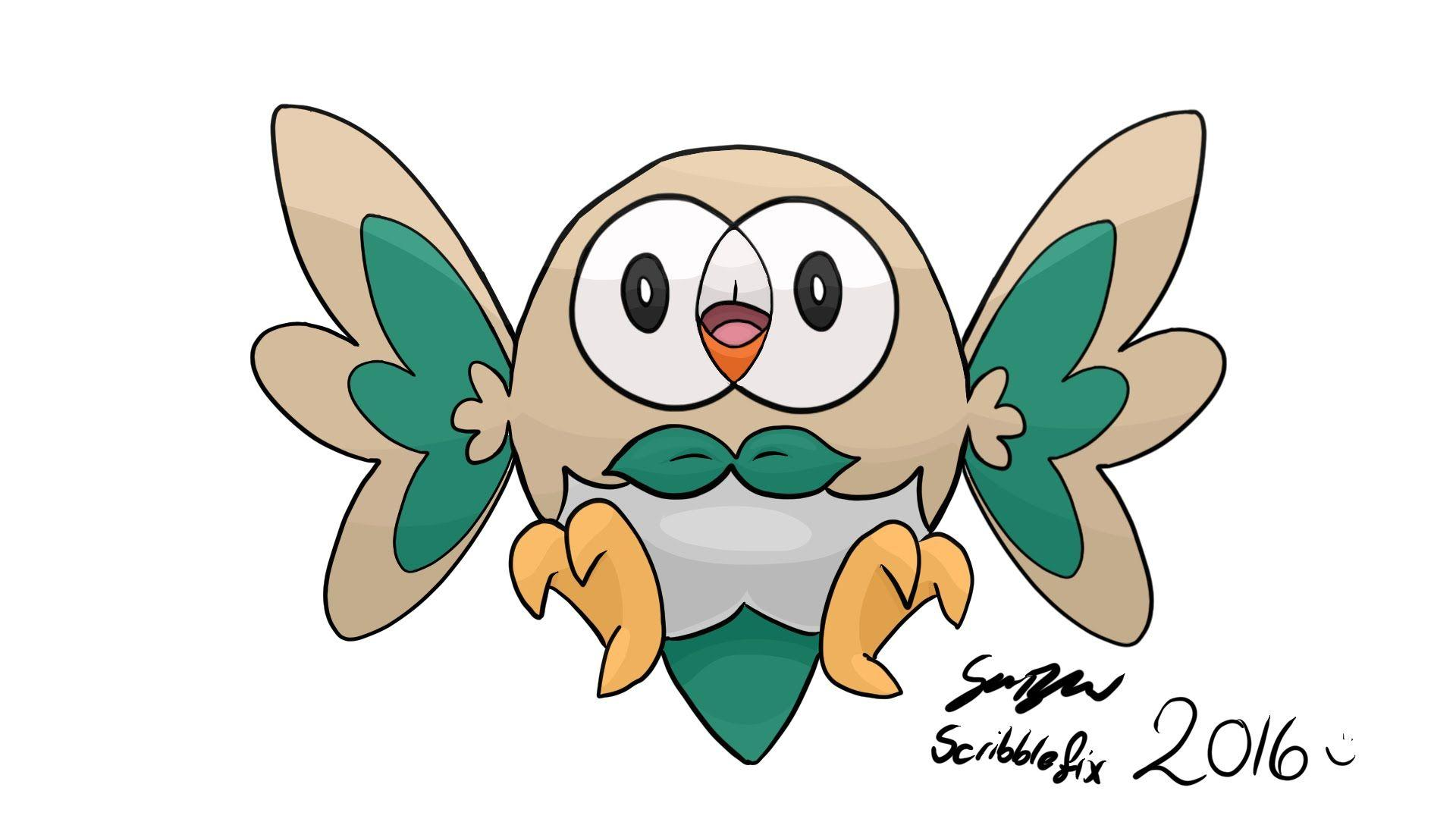 Pokemon Sun & Moon Starter Rowlett - Drawing - YouTube