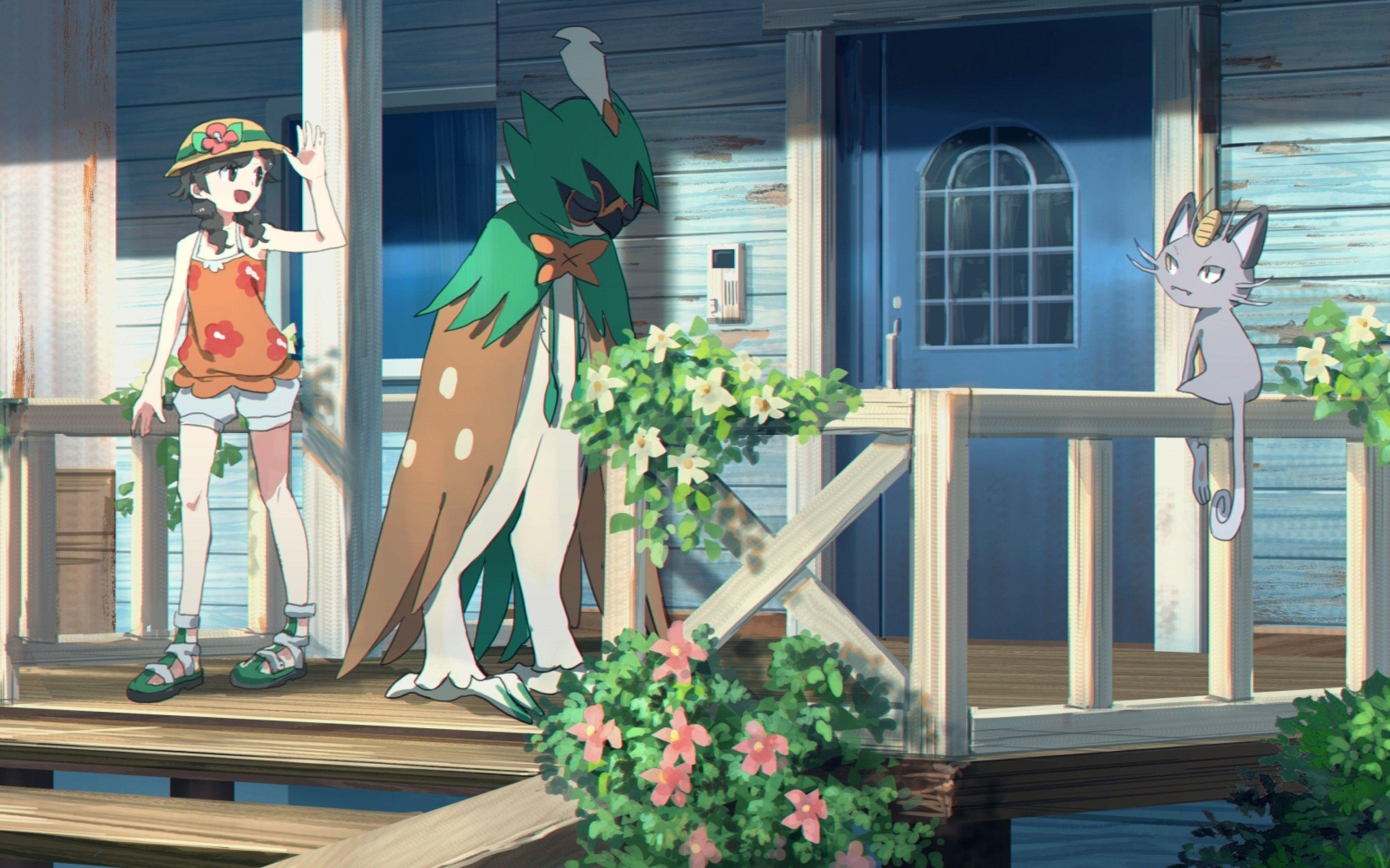 Download 2880x1800 Decidueye, Pokemon, House, Artwork Wallpapers for