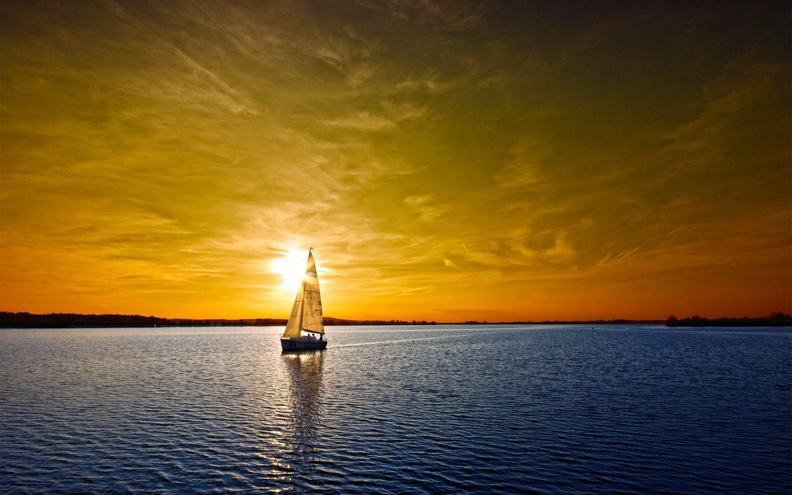 Daily Wallpaper: Sail Boat Sunset