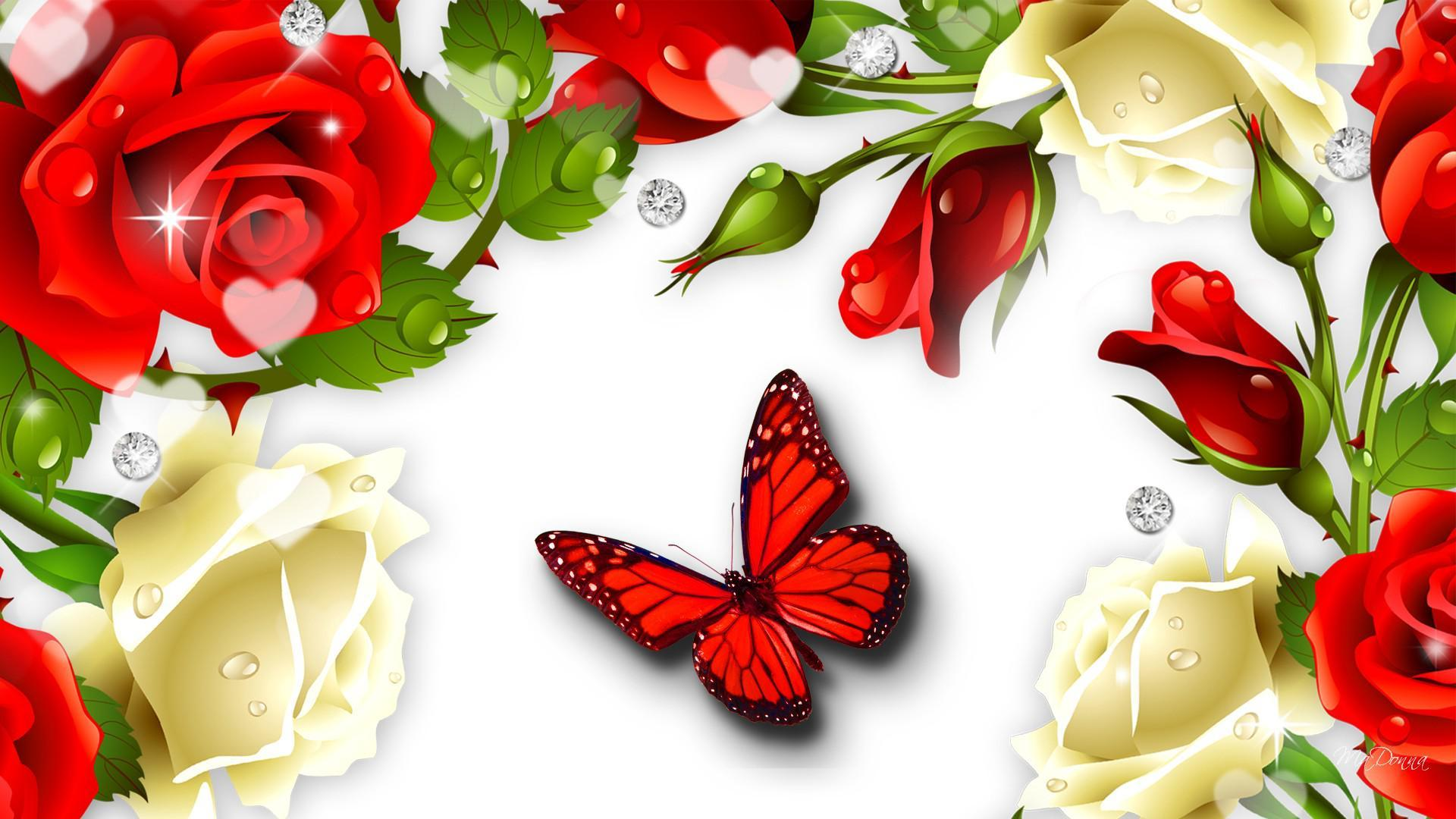 Фон с розами для открытки