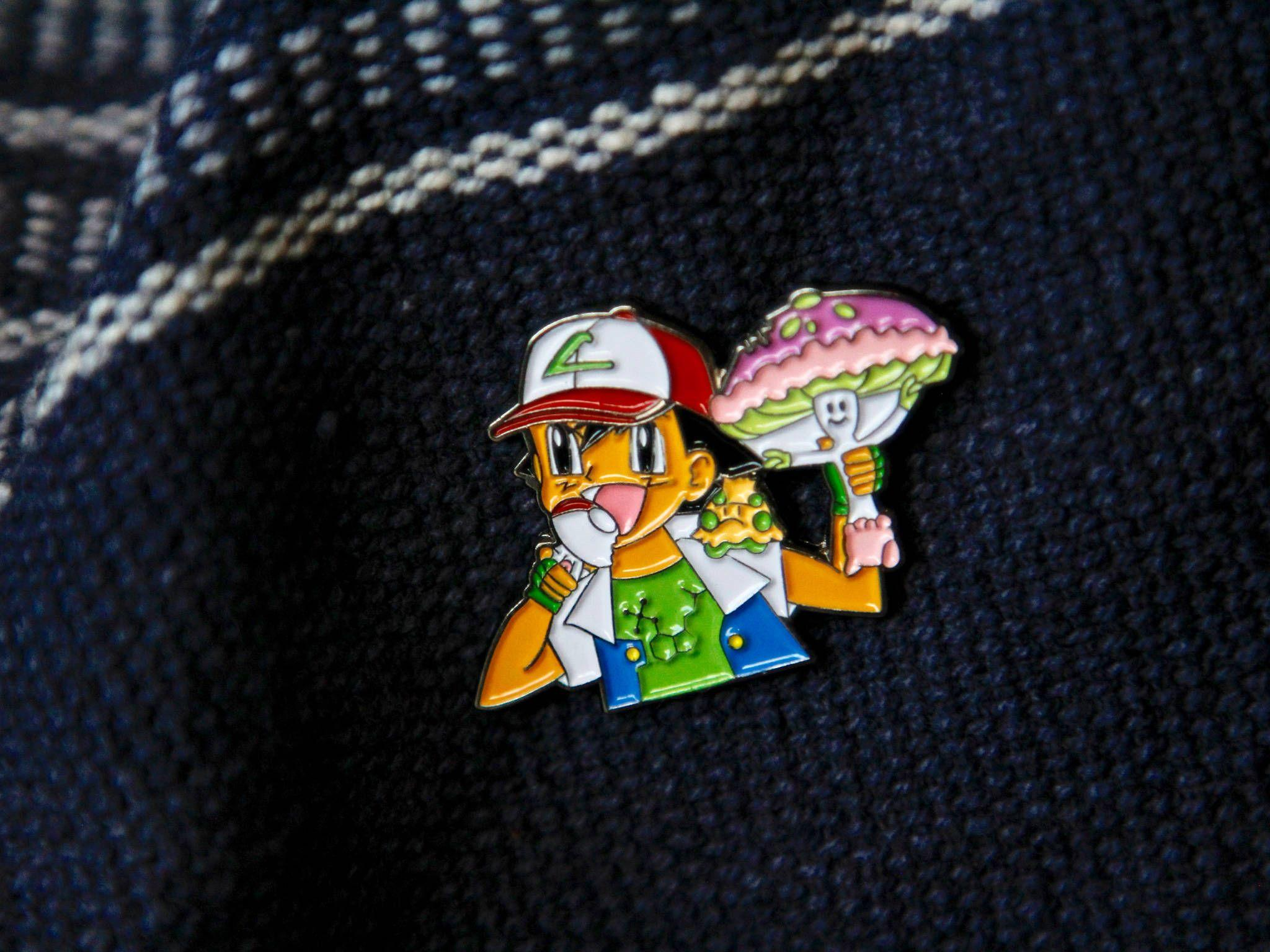 Ash Found Rare Mushroom Shiinotic Pokemon Cartoon Hat Pin
