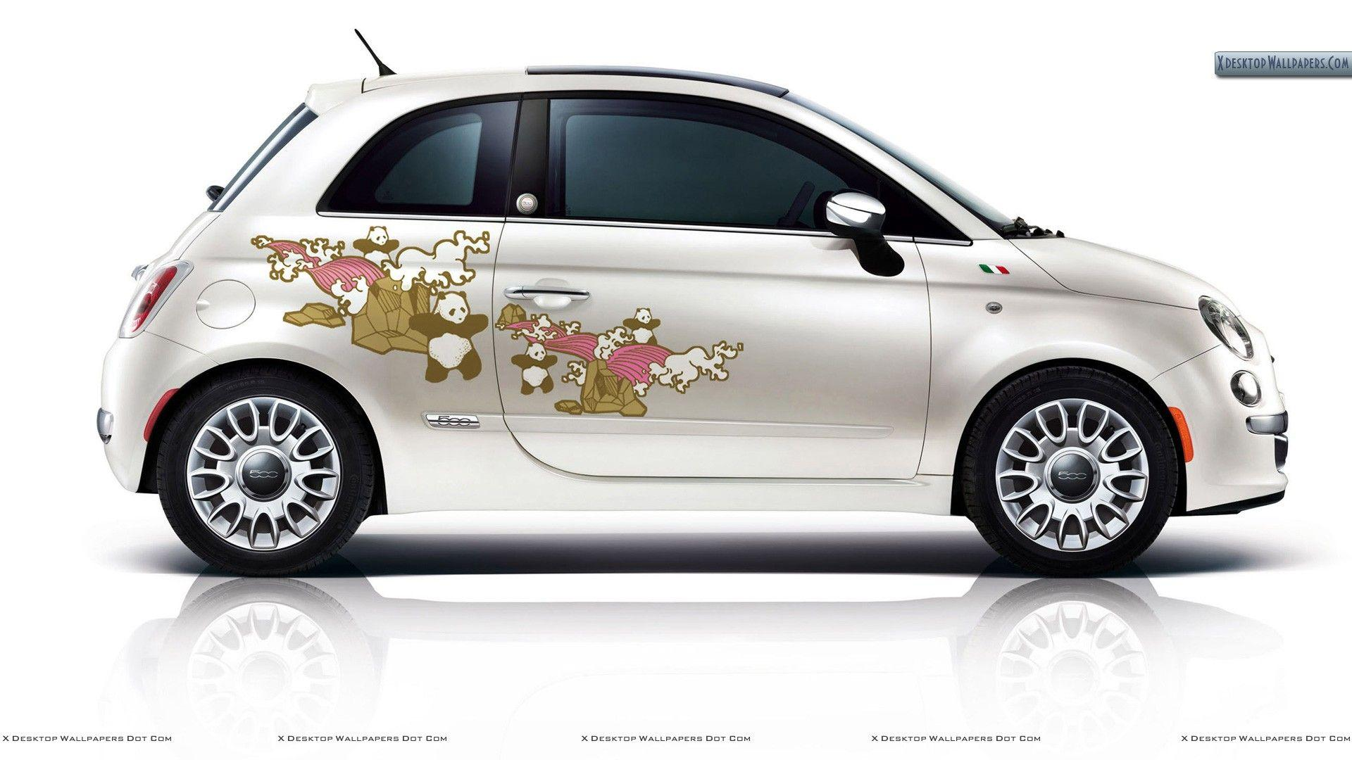 Fiat 500 First Edition – Graphic Design in White Wallpaper