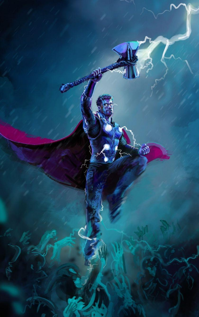 Download 840x1336 wallpapers thor, thunder storm, artwork, iphone 5