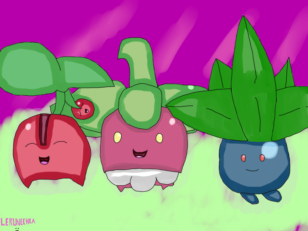 Cherubi, Bounsweet and Oddish by Lerunechka