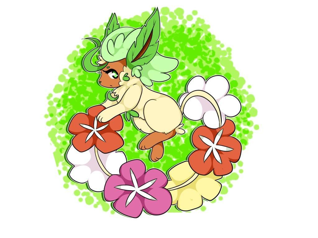 My hobby is Pokémon fusions. Meet a Comfey/Leafeon