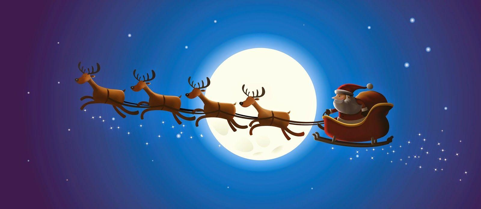 Санта клаус на оленях открытка
