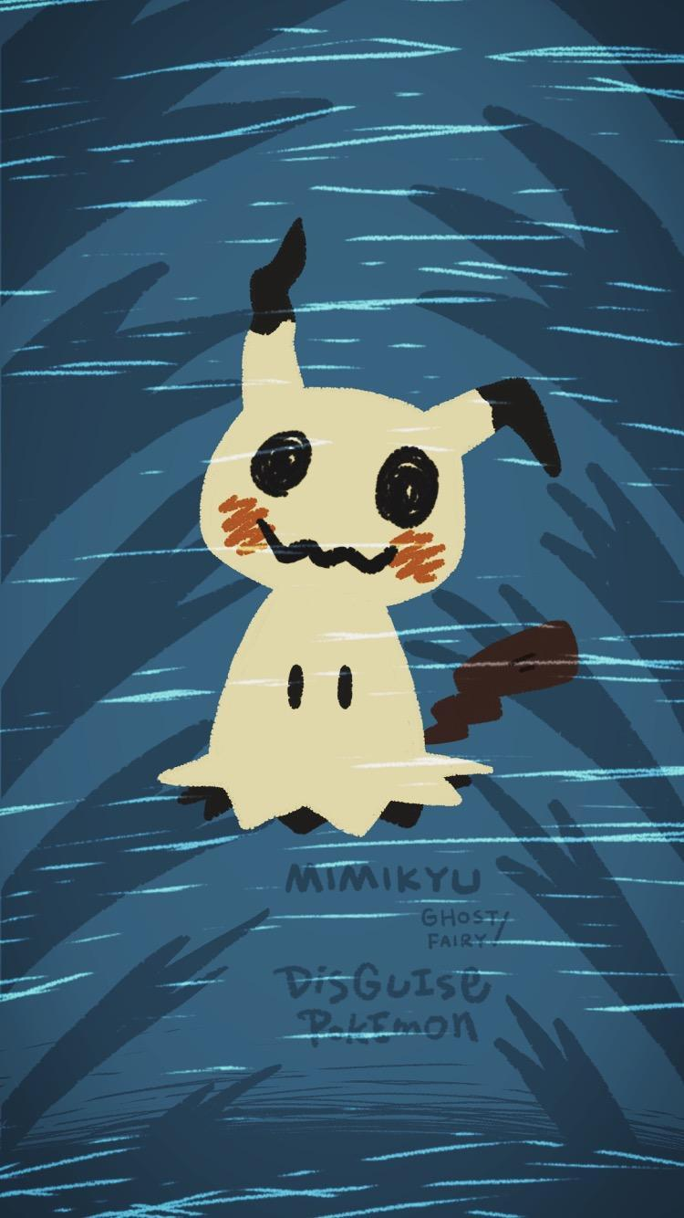 OC] Mimikyu Wallpaper (for iPhone6) : PokeMoonSun