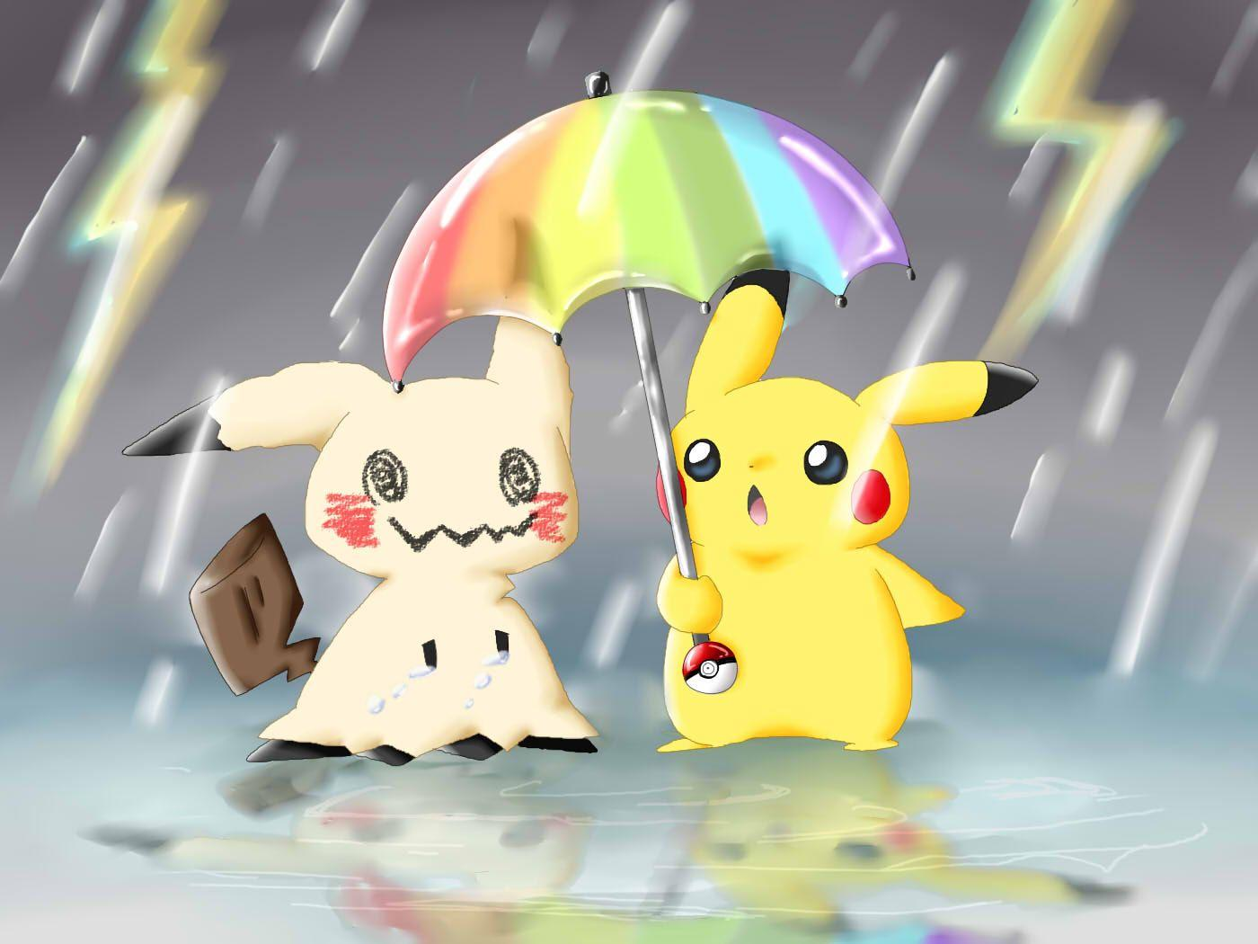 Pikachu protecting Mimikyu from the rain | Mimikyu | Know Your Meme