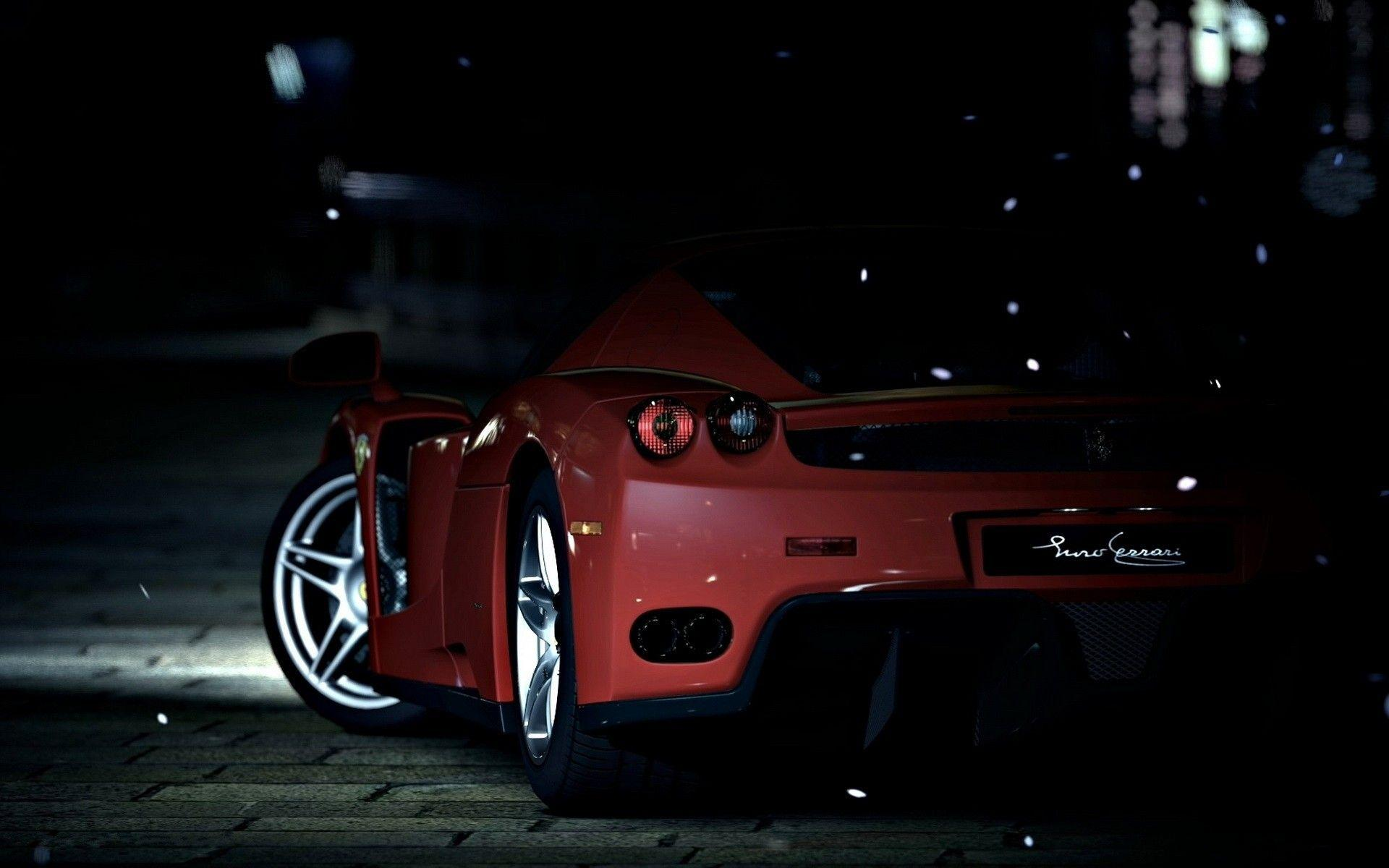 Red sports car on a dark street wallpapers and image
