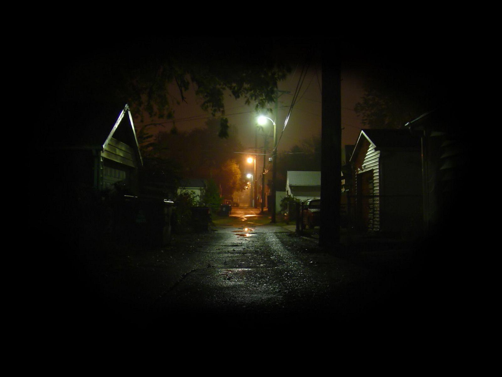 streets, dark, night, street lights, Alley, garages :: Wallpapers