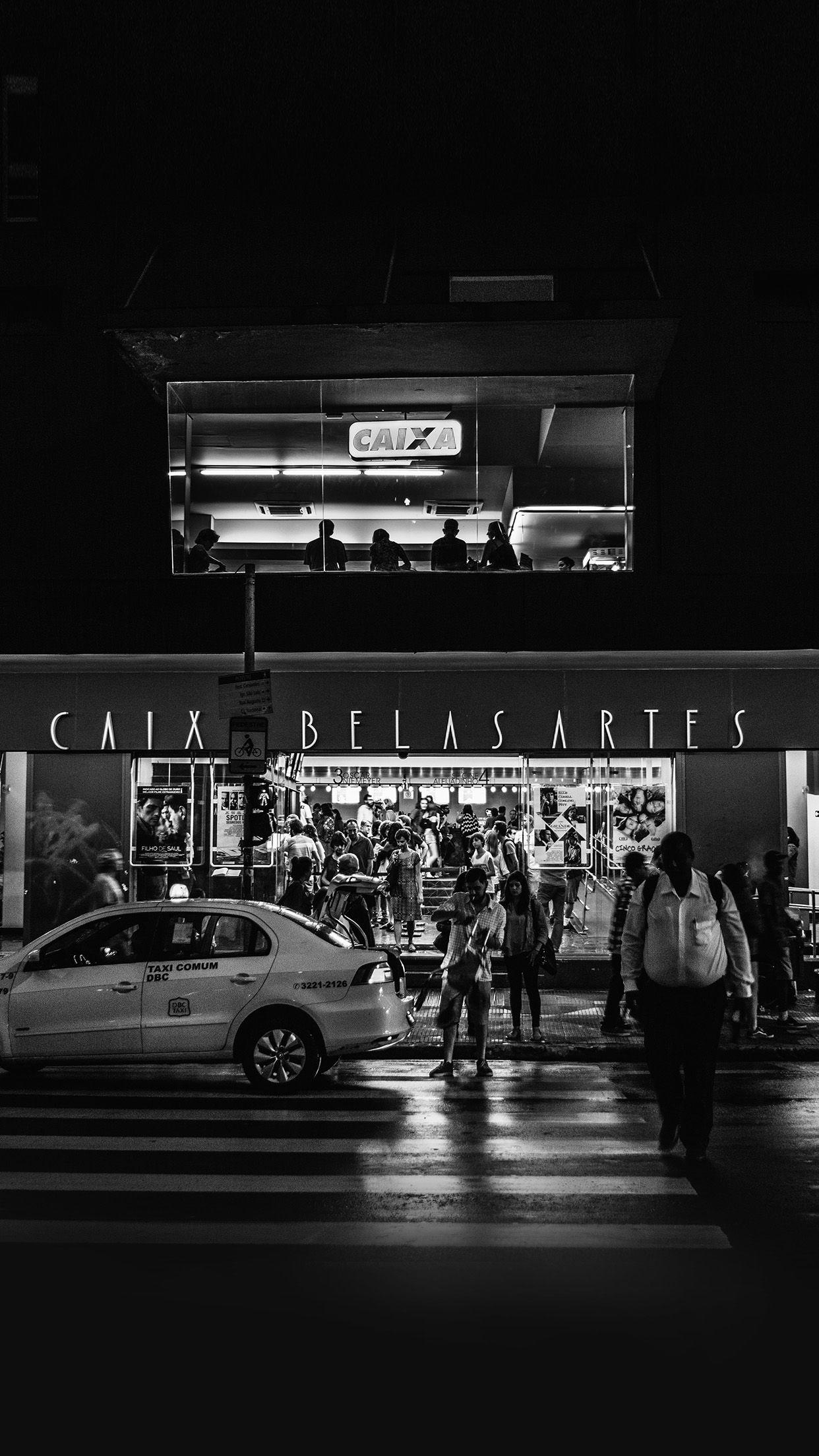 Caix Dark Bw City Street Night Android wallpapers