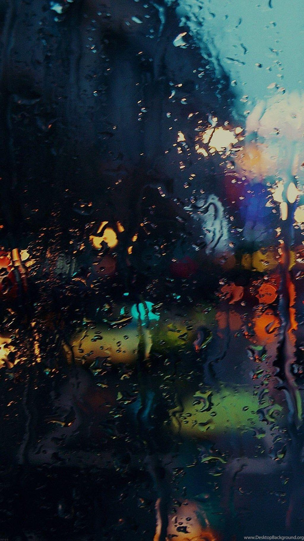 Raining Back Car Window Gloomy Dark Street iPhone 6 Wallpapers
