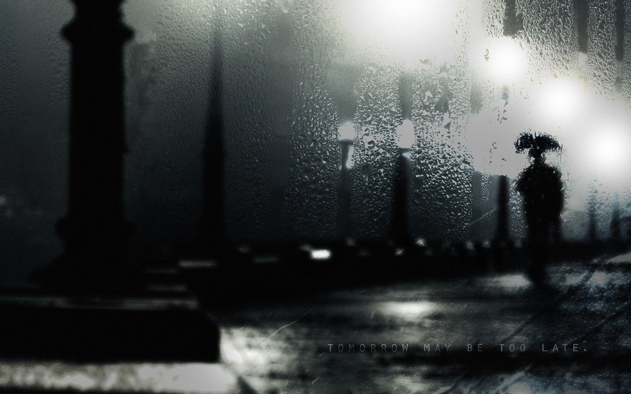 dark, night, rain, alone, wet, thinking, photomanipulations, MESSAGE