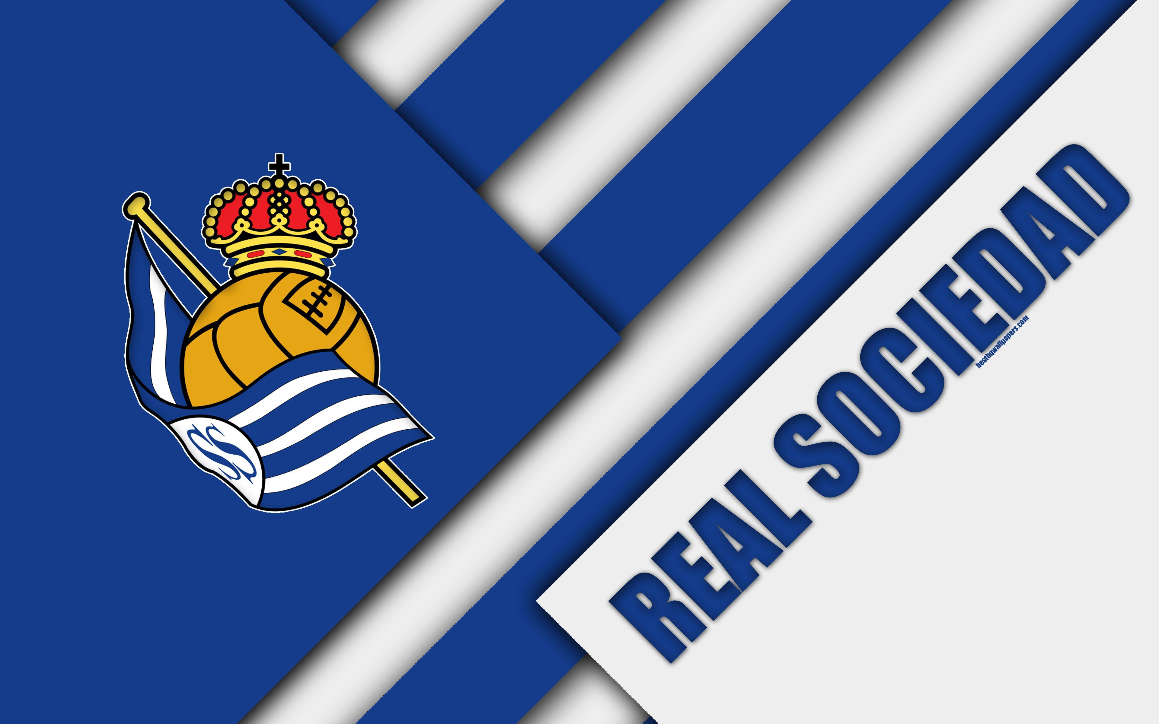 Download wallpapers Real Sociedad FC, blue white abstraction, San