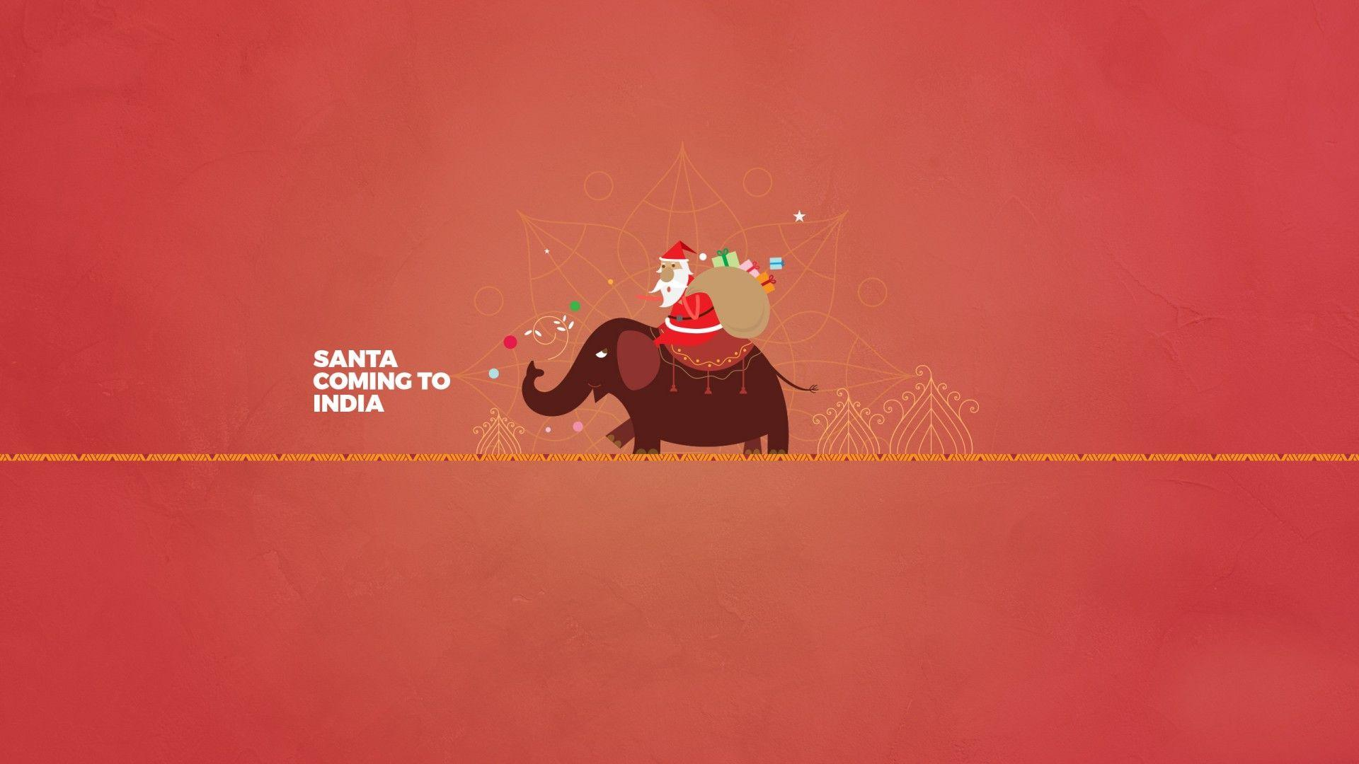 Wallpaper Santa Claus, Elephant, India, Minimal, HD, Celebrations ...