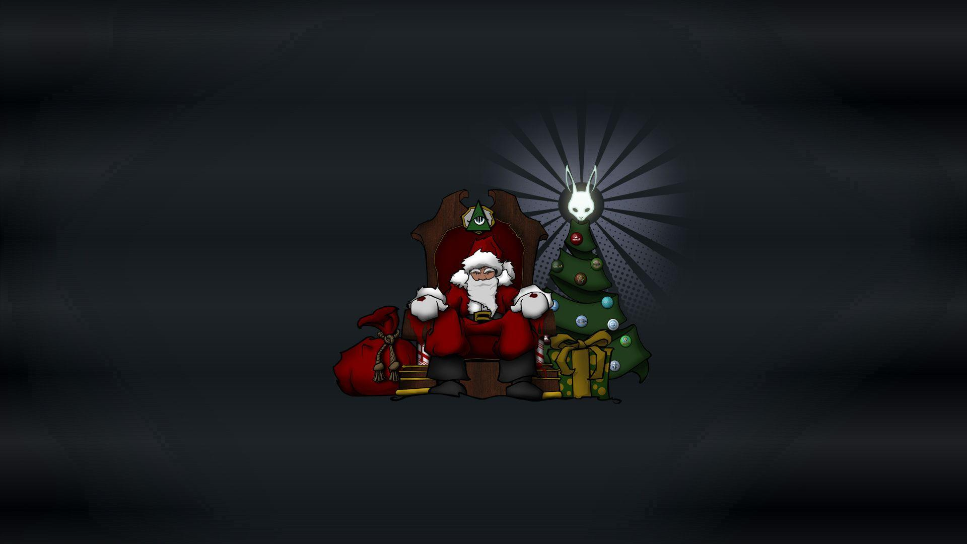 1920x1080 Dark Background, Minimalism, Santa, Sitting Around The ...