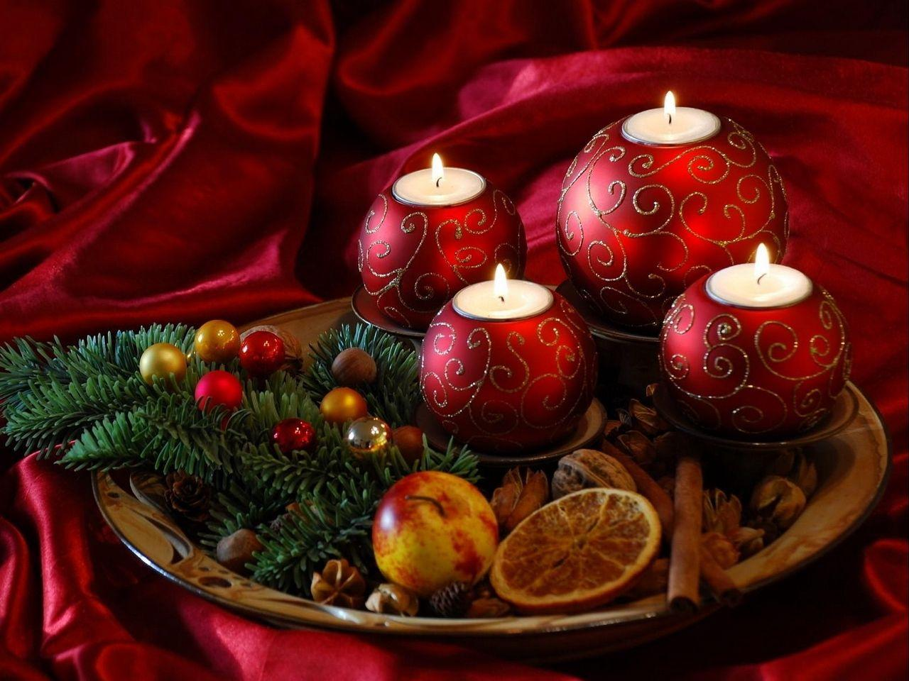 Download wallpaper 1280x960 new year, christmas, candles, needles ...