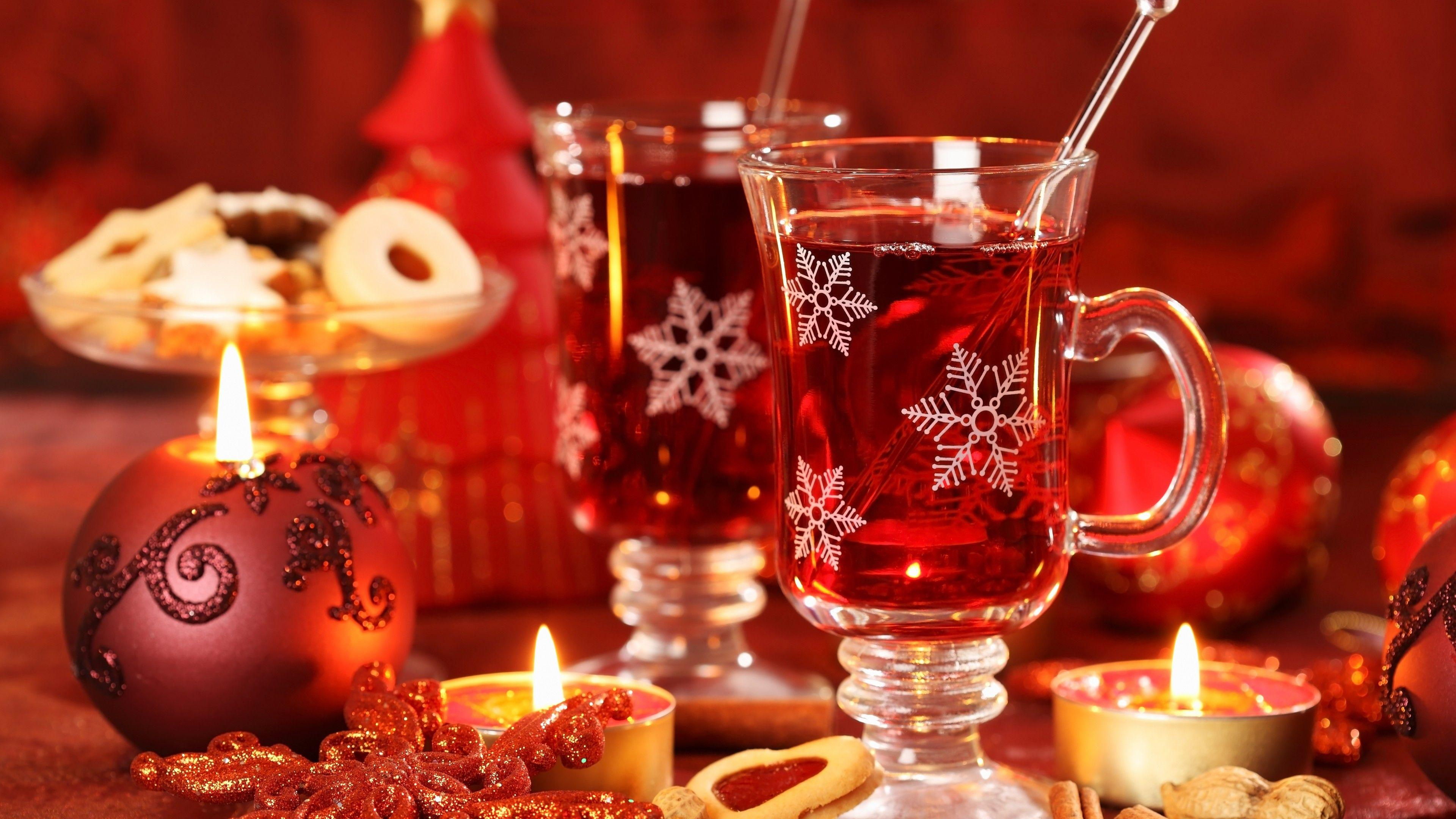 Wallpaper Mulled wine, candle, biscuits, cinnamon, decorations ...