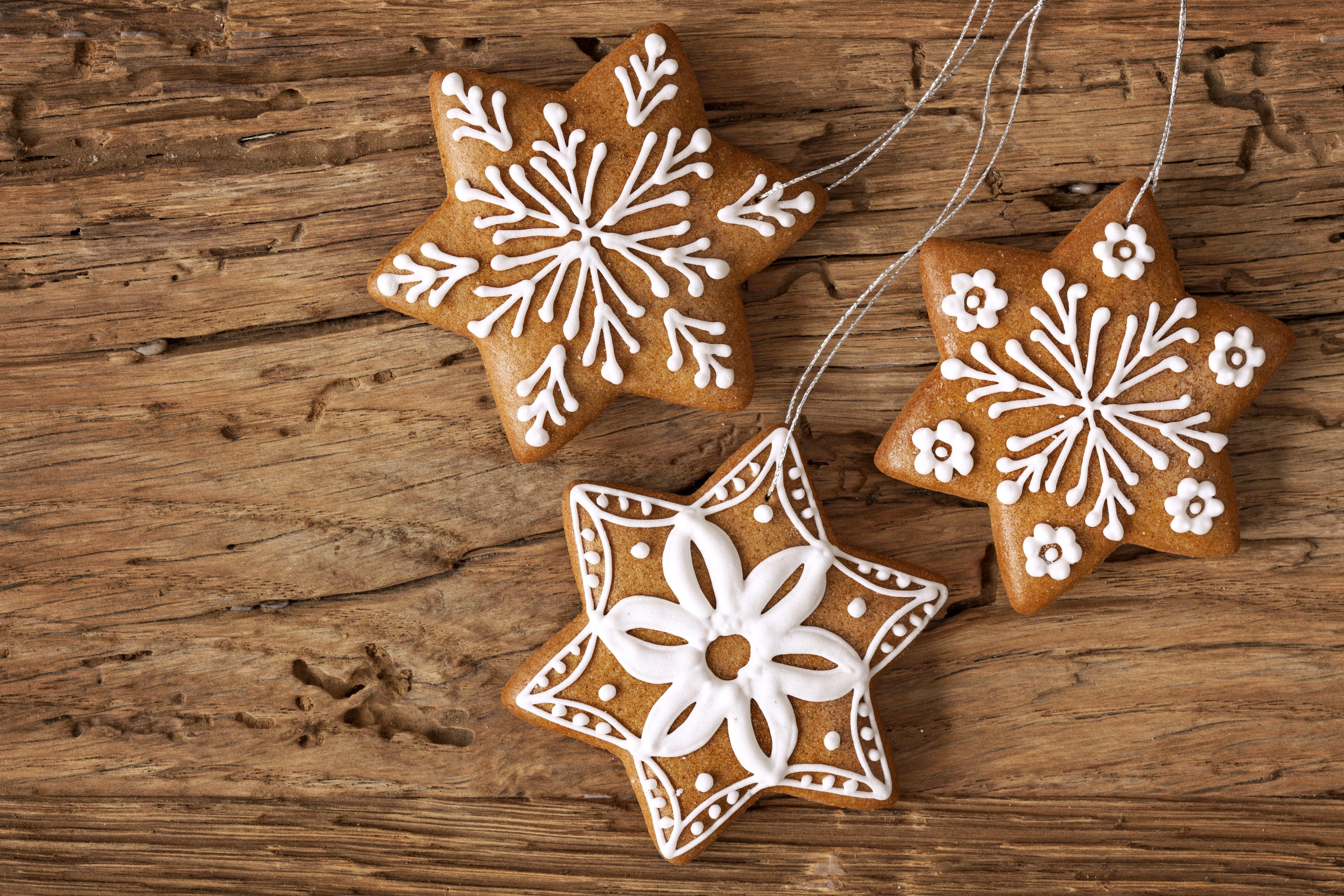 Photos Christmas Snowflakes Food Cookies Baking 5616x3744
