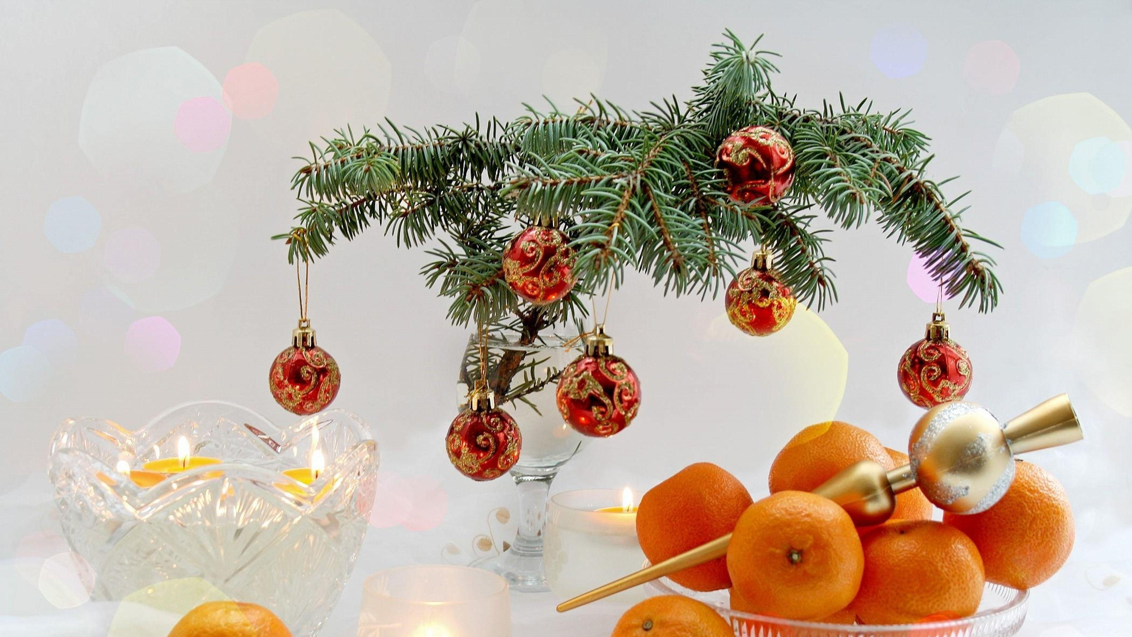 New Year Christmas Food Tangerines Branch Candles Table #3122 ...
