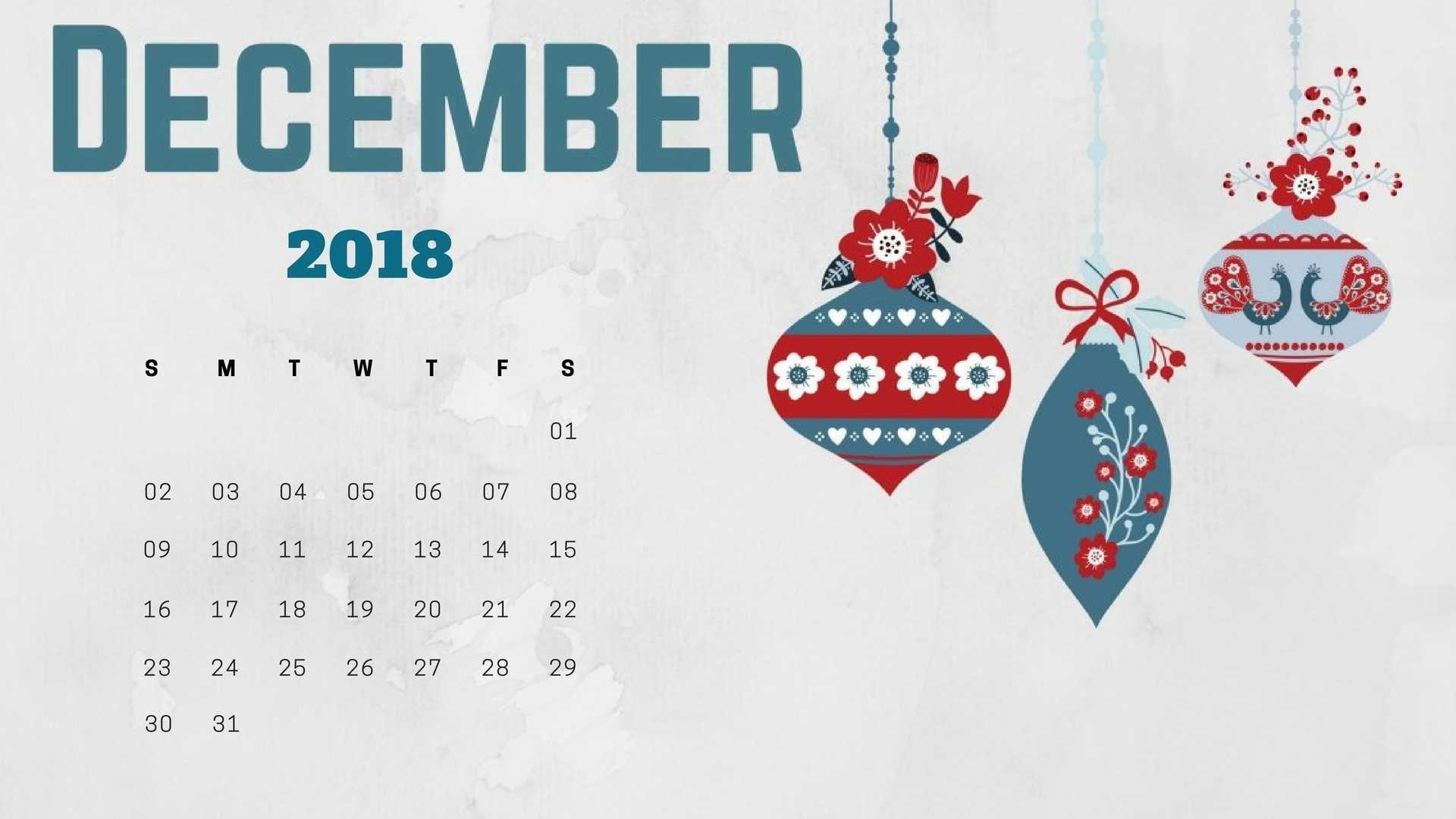 December 2018 Calendar Wallpaper for Desktop Background Laptop and ...