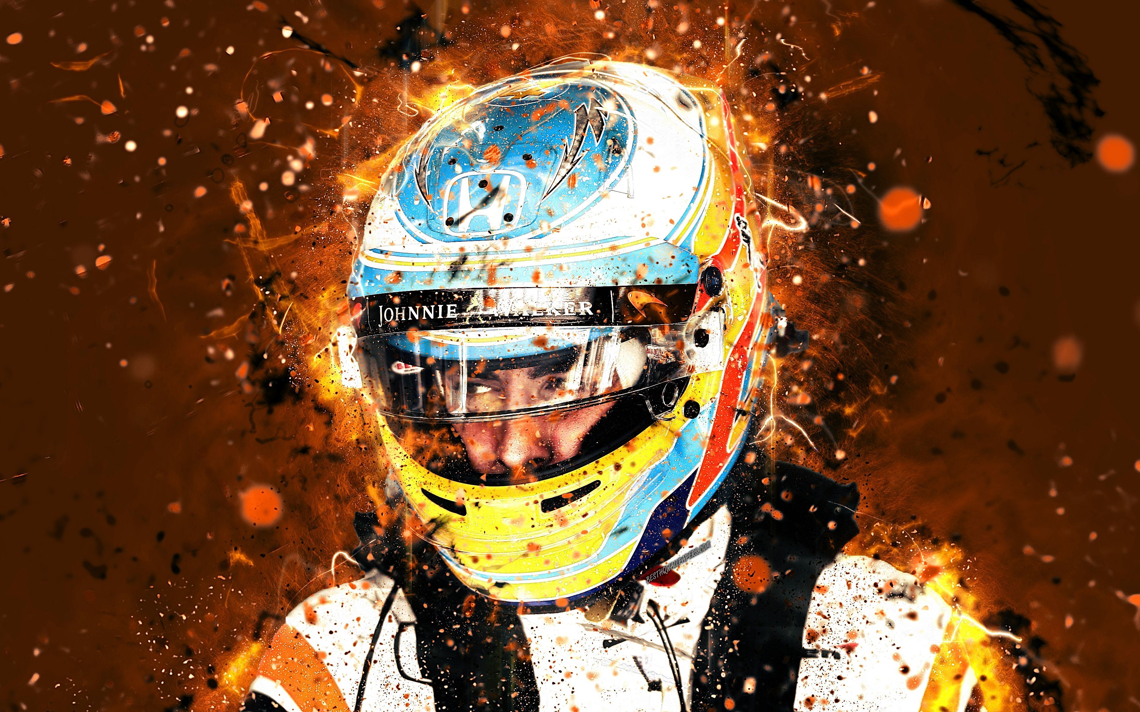 Download wallpapers 4k, Fernando Alonso, abstract art, Formula 1, F1 ...
