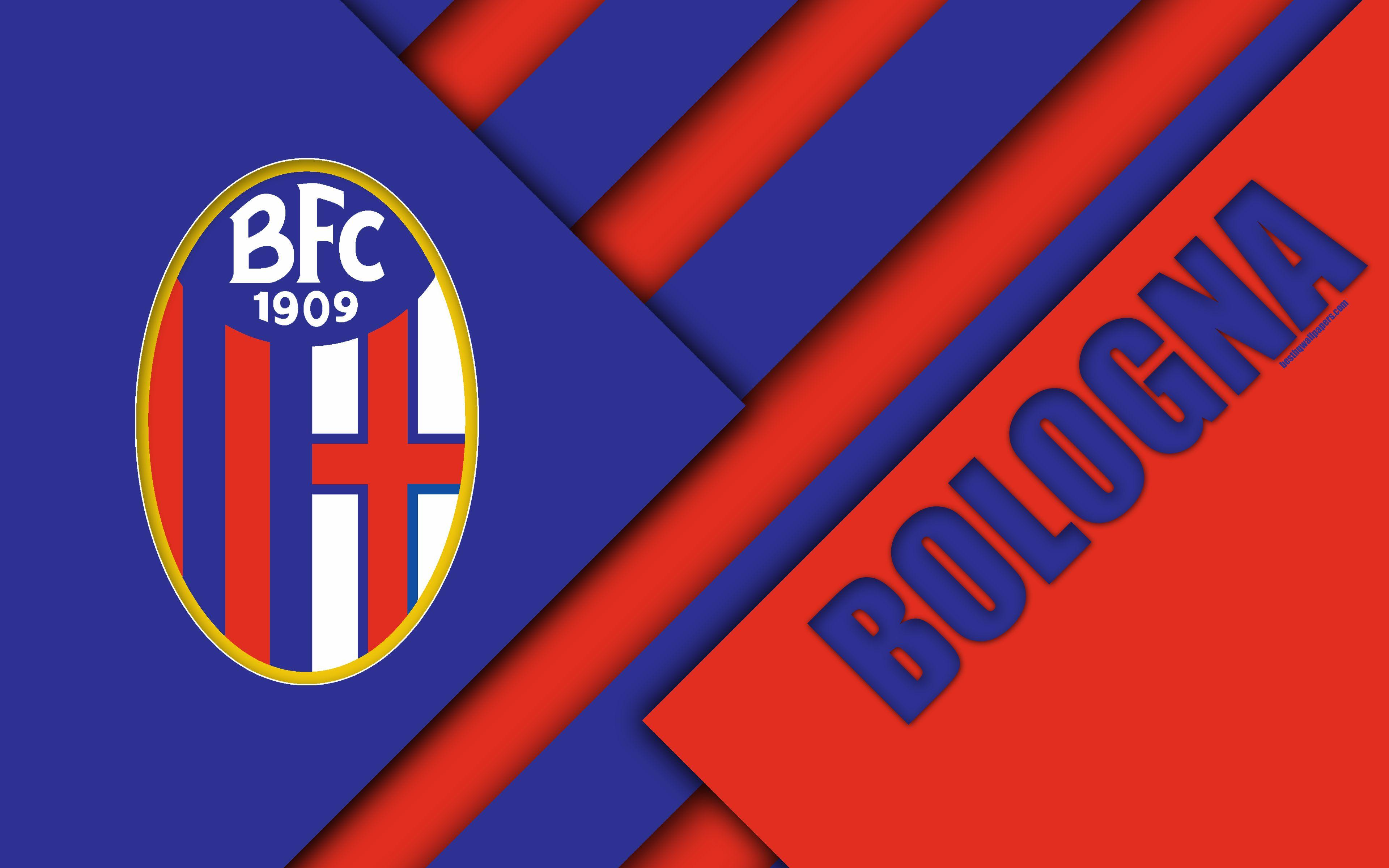 Download wallpapers Bologna FC, logo, 4k, material design, football